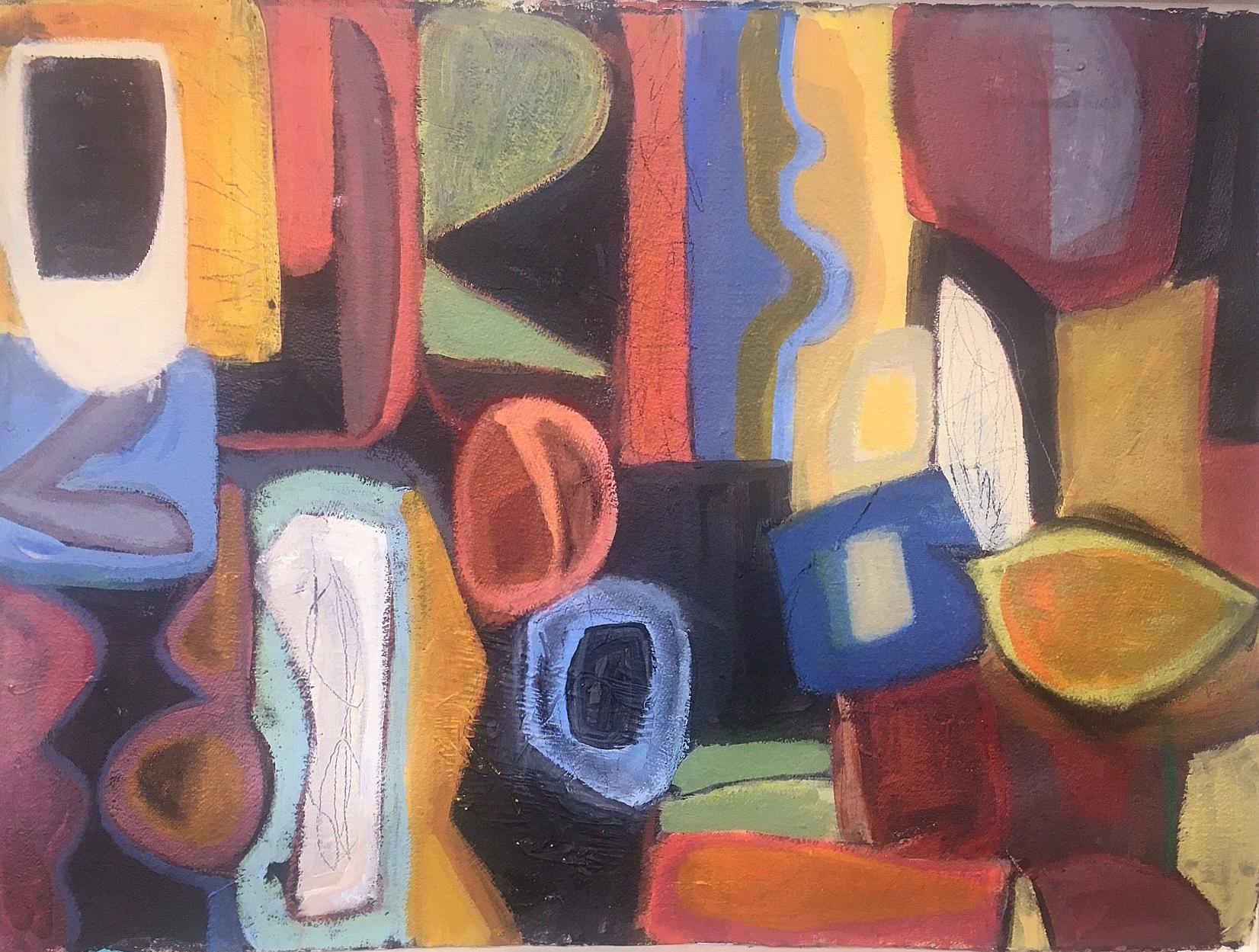"""The Left Bank of New York , Pam Frederick. Acrylic on paper. 22"""" x 30"""".  Inquire."""