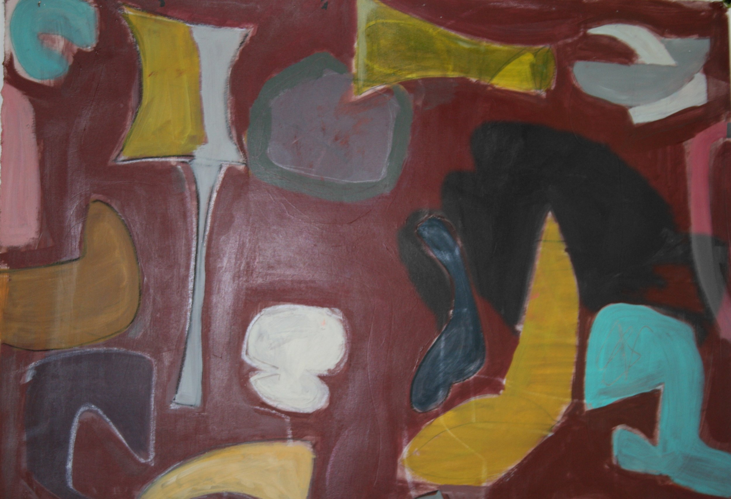 """Under Construction #3  Acrylic on paper  25"""" x 25"""""""