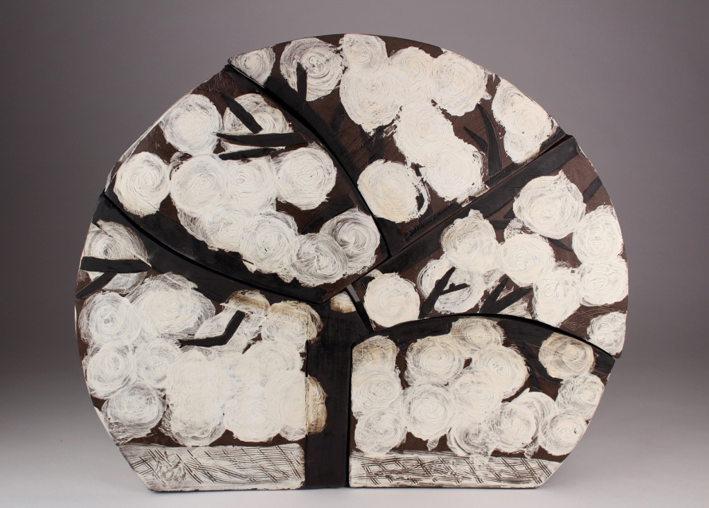 "Eve   Stoneware, slip, underglaze, and glaze  17"" x 20"" x 5 1/4""  $800  Click image to enlarge   Inquire."