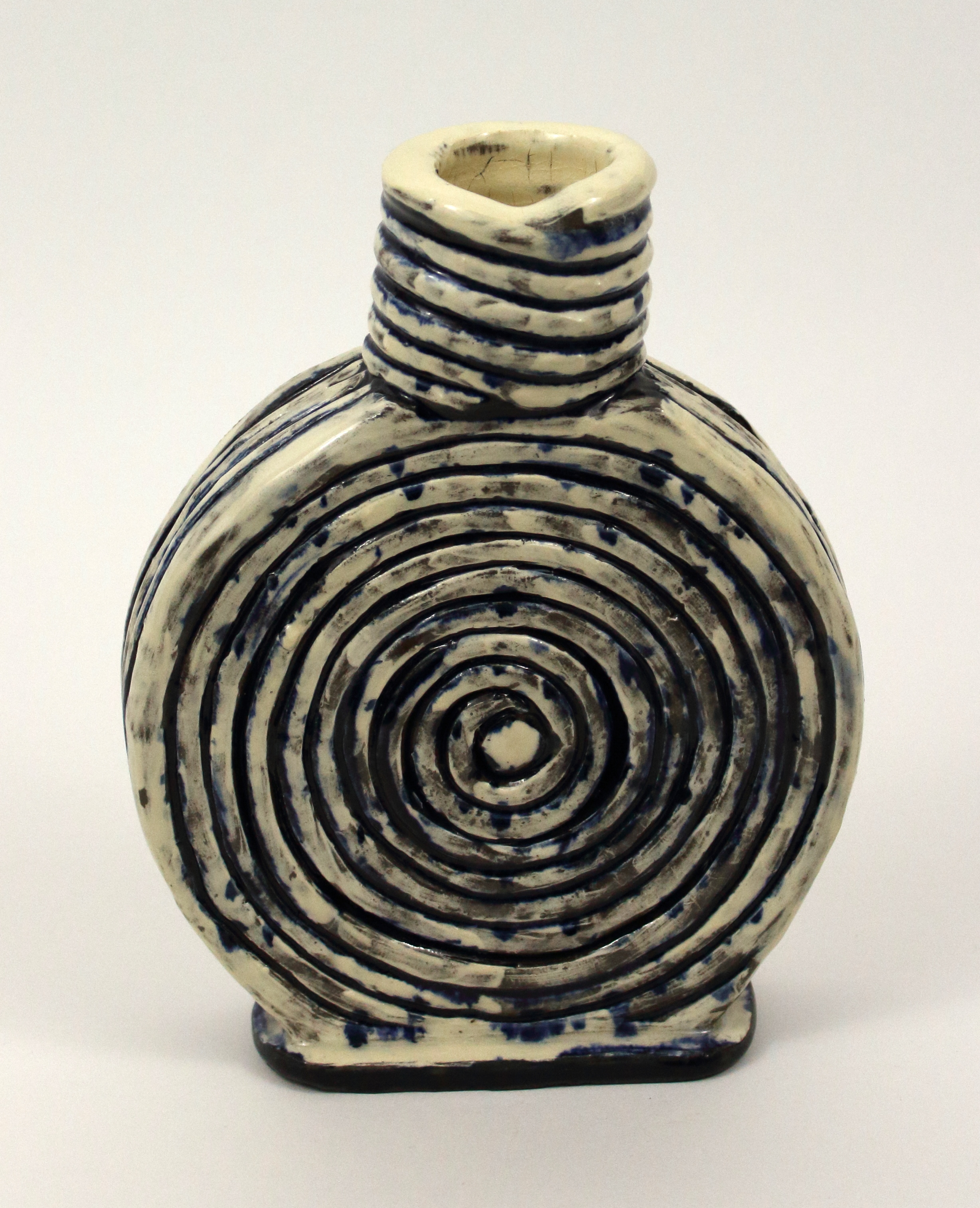 "Small Vase   Stoneware, slip, wash, and glaze  8"" x 6 1/2"" x 1 1/2""  $120  Click image to enlarge   Inquire."