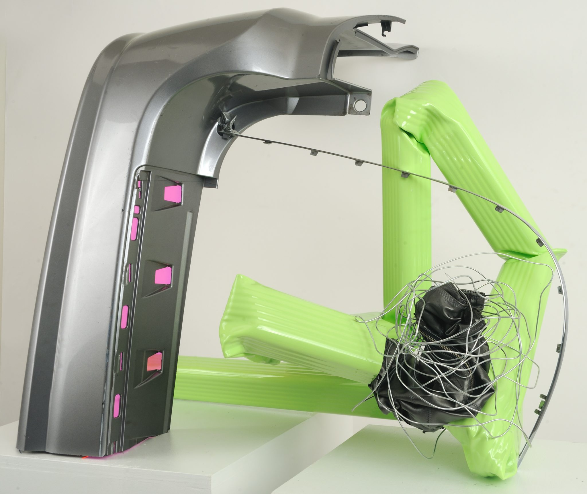 "Green 3   Leather, Zipper, Steel, Duct tape, Downspout, Auto Part, Vinyl, Wire  41.5"" x 33"" x 32""  $3,800  Click to enlarge   Inquire."
