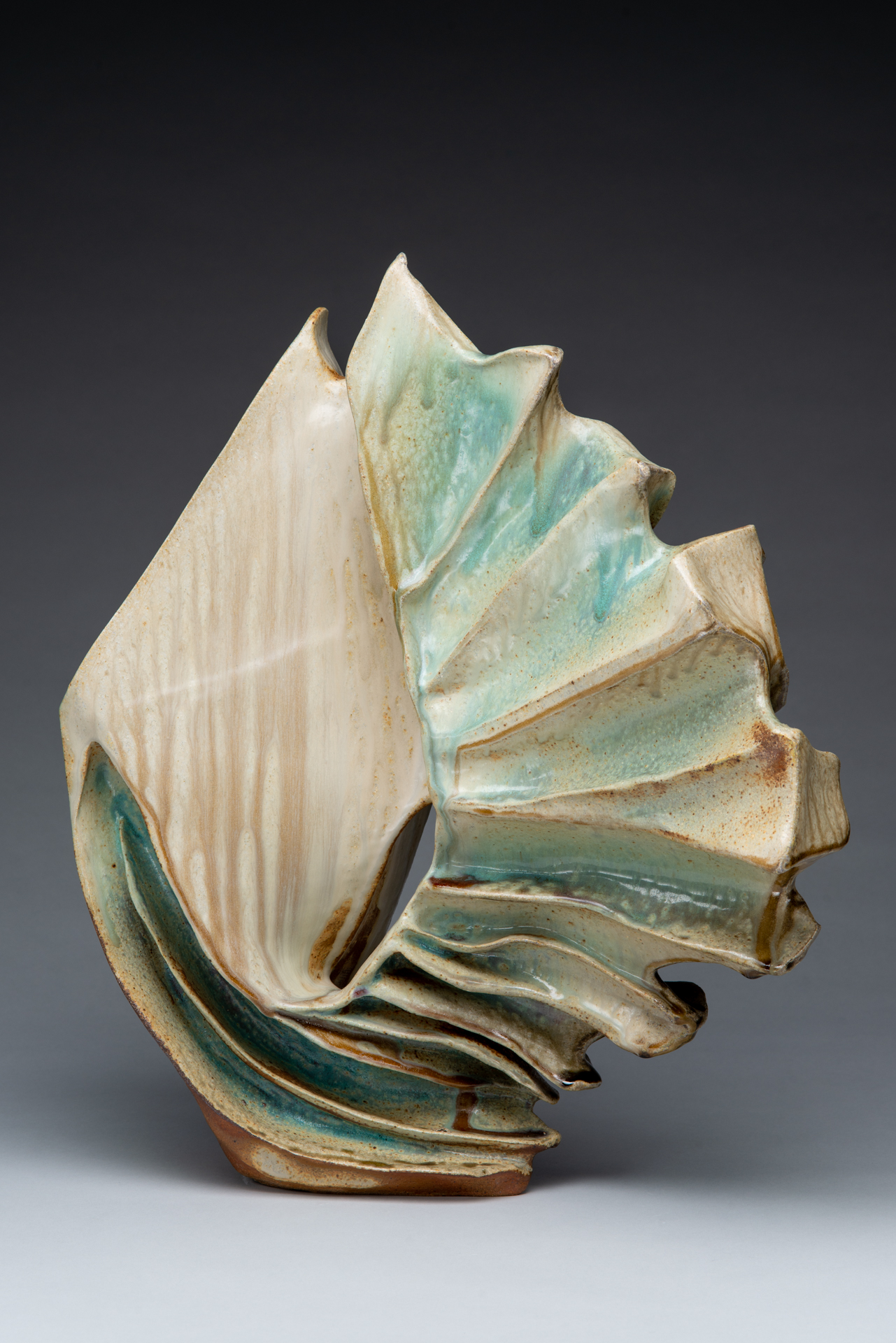 "Essence II , Ceramic. Handbuilt from stoneware clay, sprayed glaze, wood fired to cone 10 in Noborigama kiln. 22"" h x 20""w x 8""d. 2018."