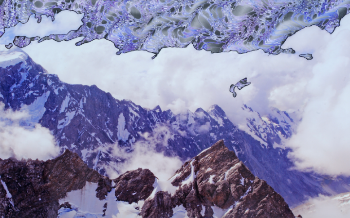 """Soaring Over Mt. Cook   Collage  25"""" x 18"""""""
