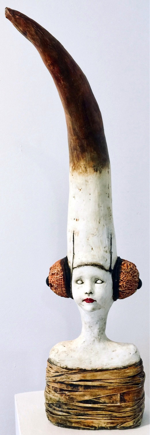 Adesimbo (Noble Birth)   Plaster Wrap, Plaster, Cement, Modeling Compound, Clay, Cast Iron, Acrylic Paint and Medium, Found Objects  $1200  Click to enlarge   Inquire.