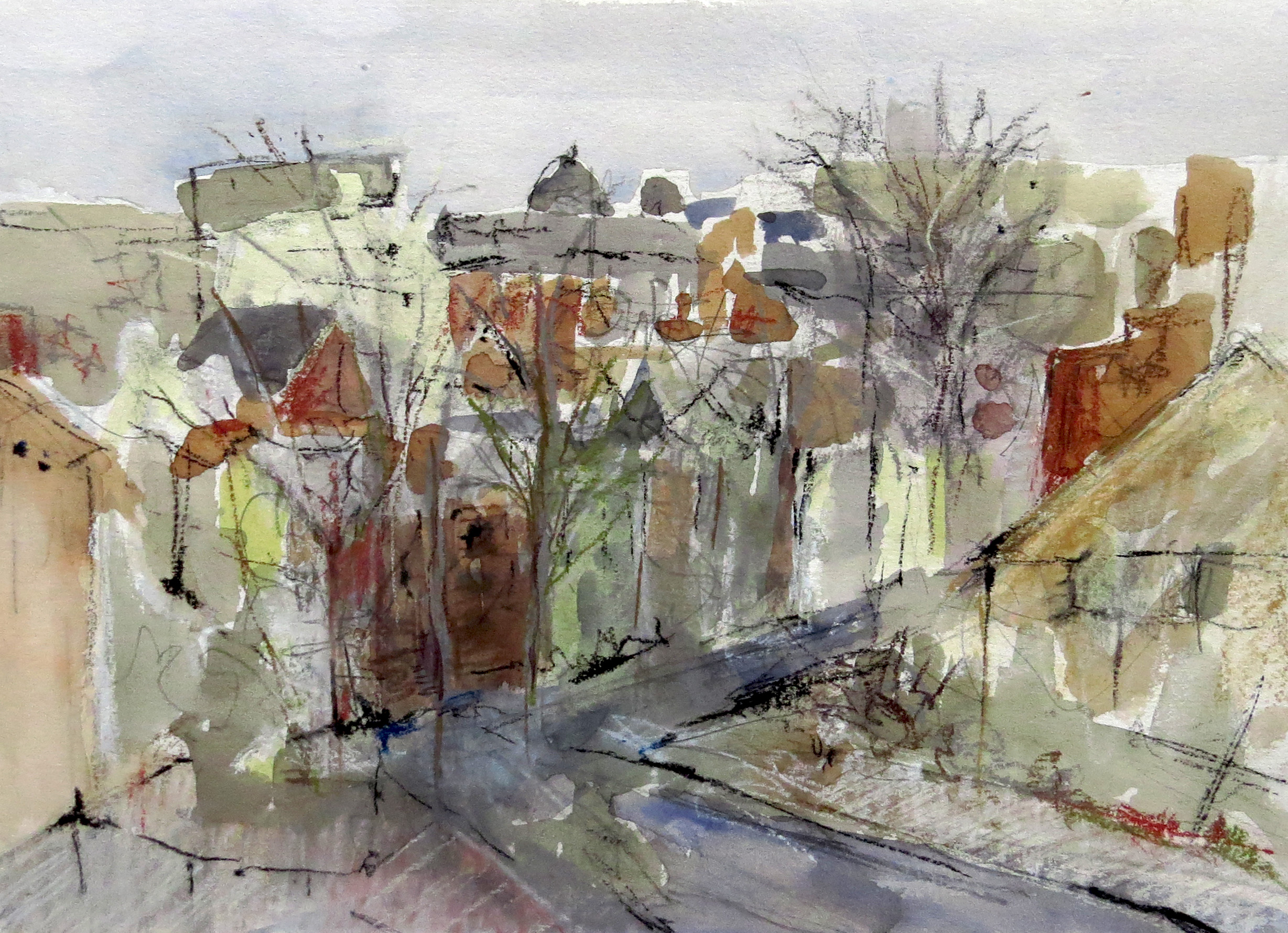 """DuPont Circle II   Watercolor and gouache  14"""" x 18"""""""
