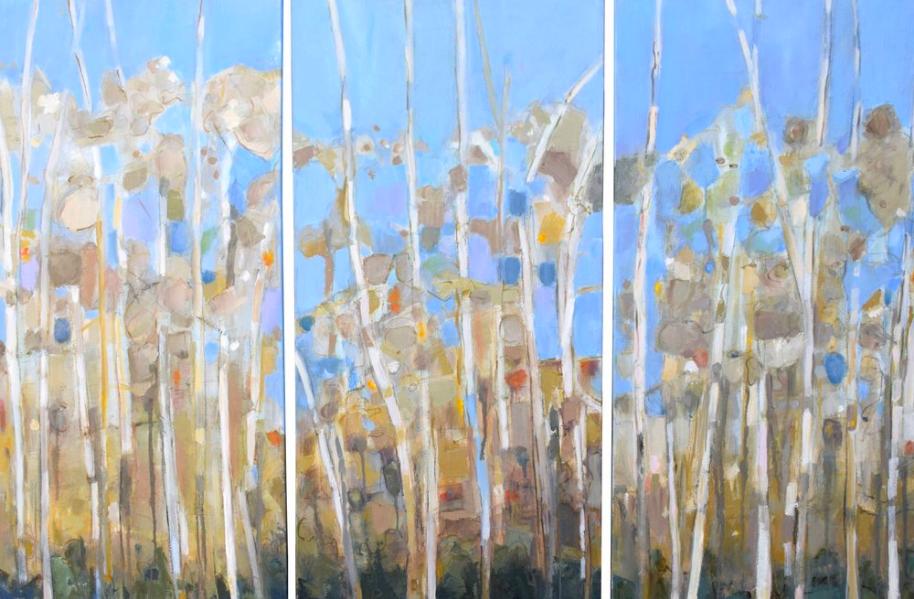 "Triptych - Aspens   Oil on canvas  31"" x 48"""