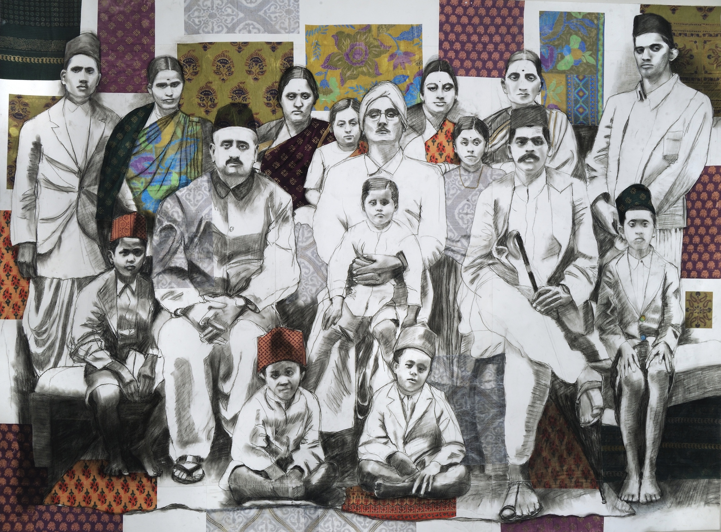 """Grandfather's Pride   Charcoal and collage on paper  66"""" x 49"""""""