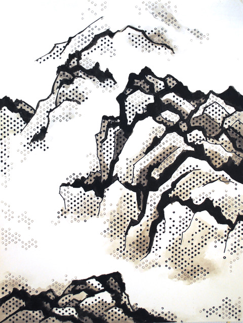 """Journey into the Clouds   Acrylic and Sharpies on paper  $750  24"""" x 18""""  Click image to enlarge.   Inquire"""