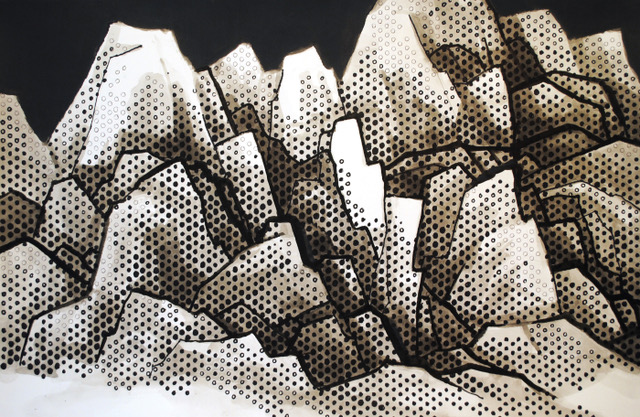 """Magnificent Mountains   Acrylics and Sharpies on paper  $850  15"""" x 24""""  Click image to enlarge.   Inquire"""