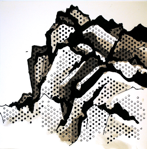 """Stability is Overrated   Acrylics and Sharpies on paper  $375  12"""" x 12""""  Click image to enlarge.   Inquire"""