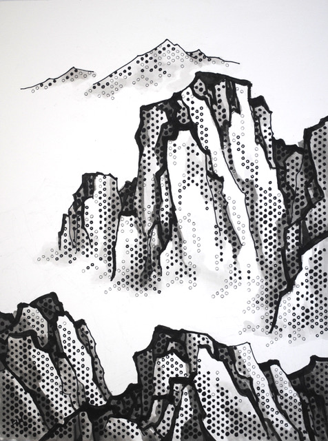 """A Peaceful Valley in the Mist   Acrylics and Sharpies on paper  $800  24"""" x 18""""  Click image to enlarge   Inquire"""