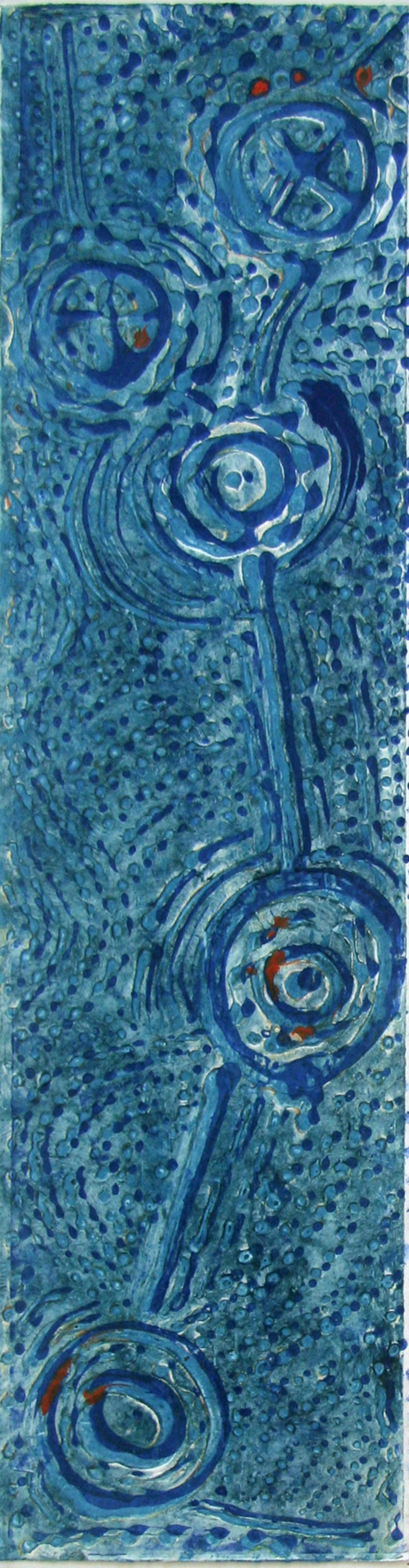 "Blue Water Holes   Collograph prints  6"" x 24""  2016"