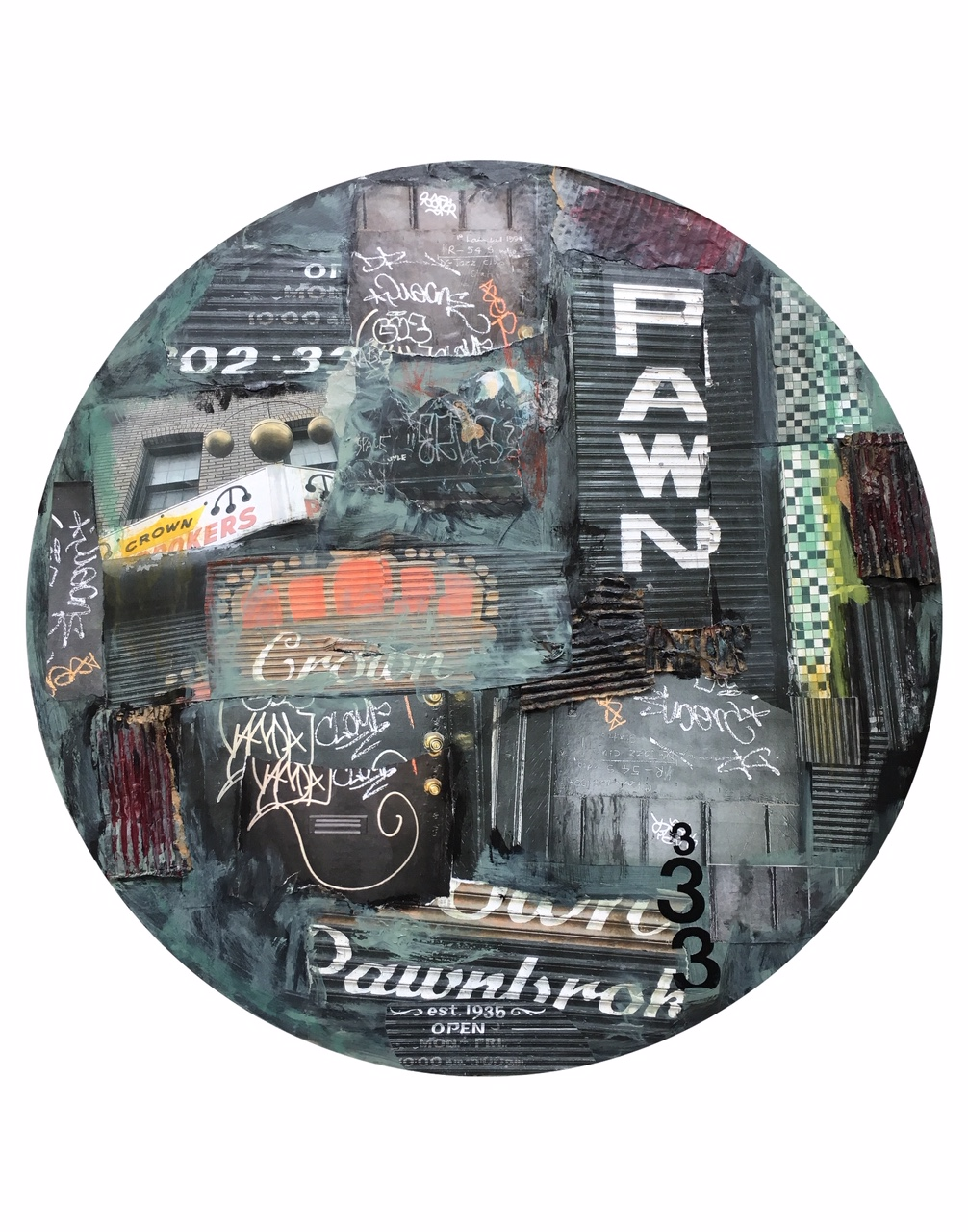 "Pawn Shop, 14th Street, NW, Photographs, collage, mixed media. 30"" diameter.  Inquire ."