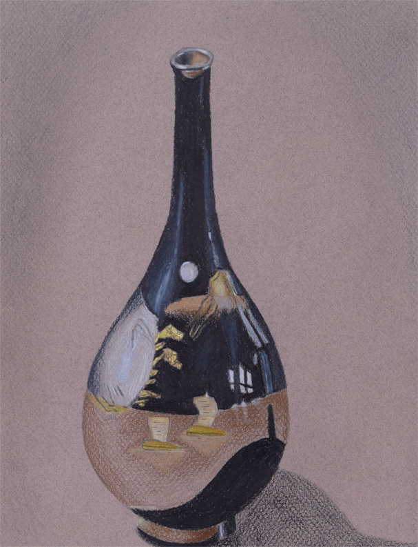 Black Vase, 2018. Colored pencil on toned paper.