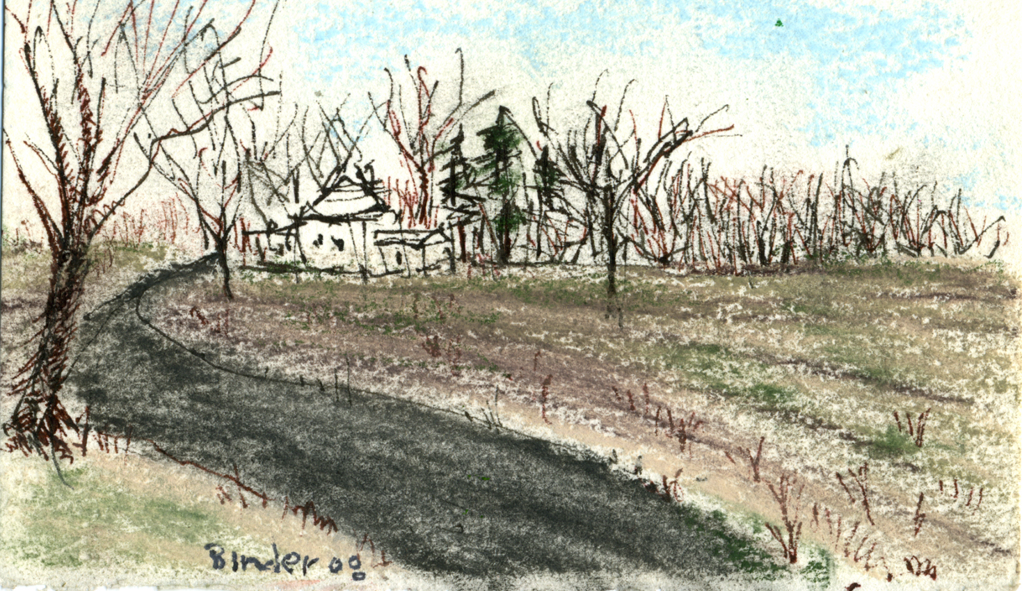 "Oak Tree Hunt Club I    Ink and pastel on paper, framed   3"" x 5""  $235  Click image to enlarge ⦿  Inquire"