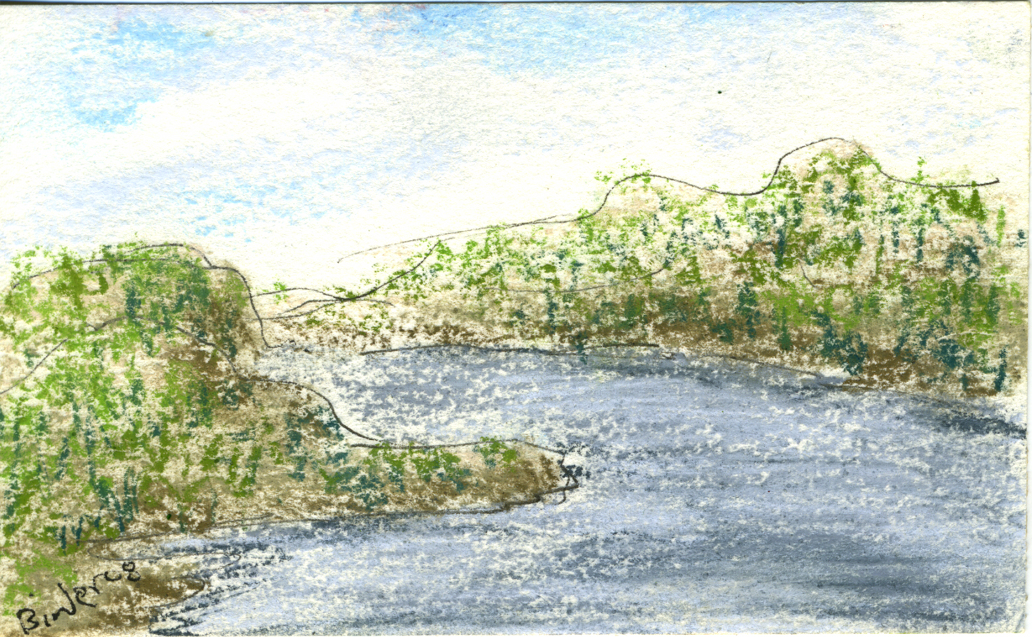 "Hudson River Gap II     Ink and pastel on paper, framed   3"" x 5""  $235  Click image to enlarge ⦿  Inquire"