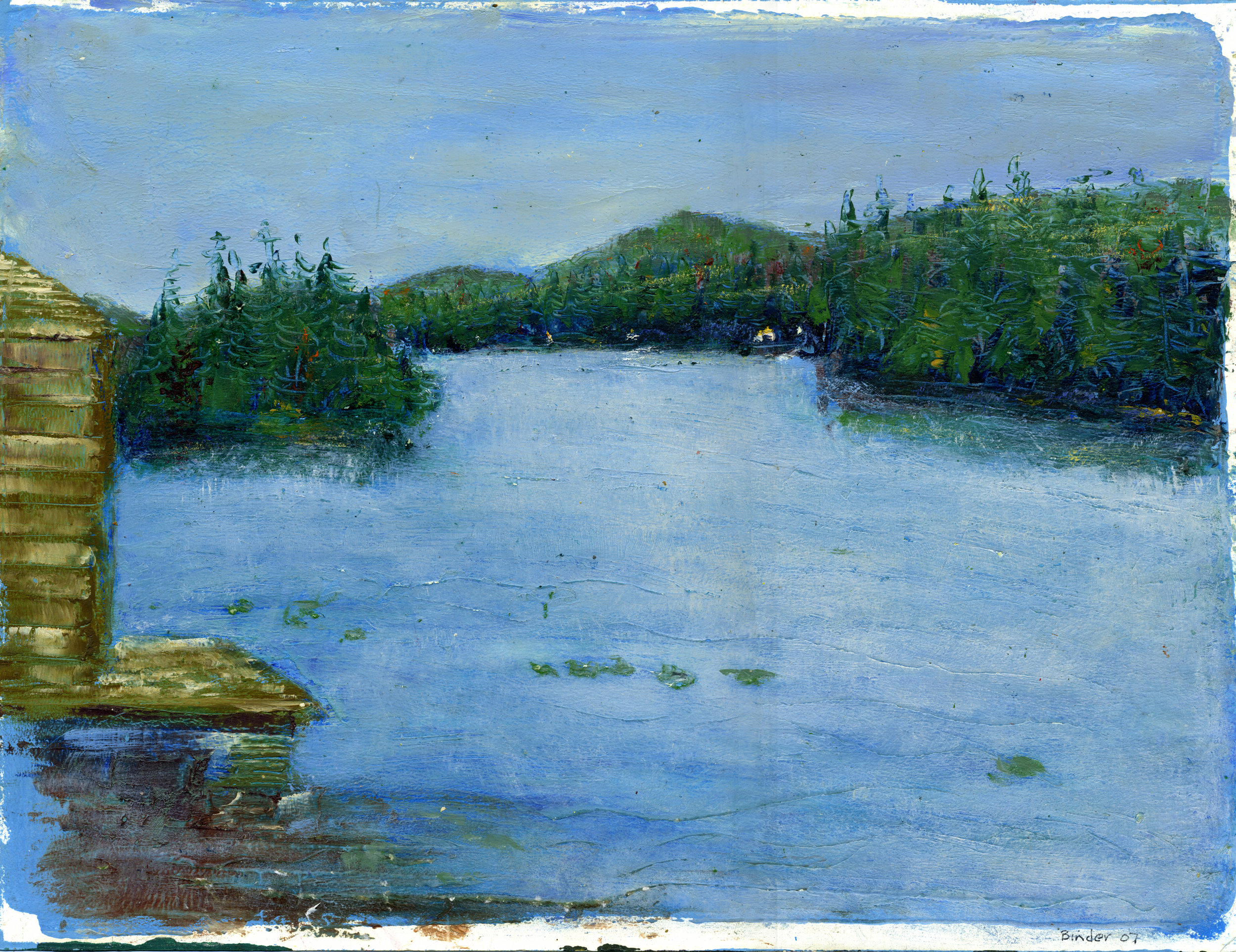 "Fall, Mountain View Lake, Adirondacks    Oil on paper  11 2"" x 11 1/2""  $585  Click image to enlarge ⦿  Inquire"