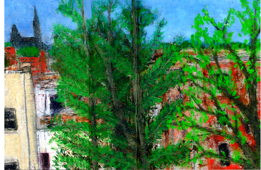 "Nature in the City (A Peek at Georgetown Spires)     Oil on thick paper   12"" x 18""  $585  Click image to enlarge ⦿  Inquire"