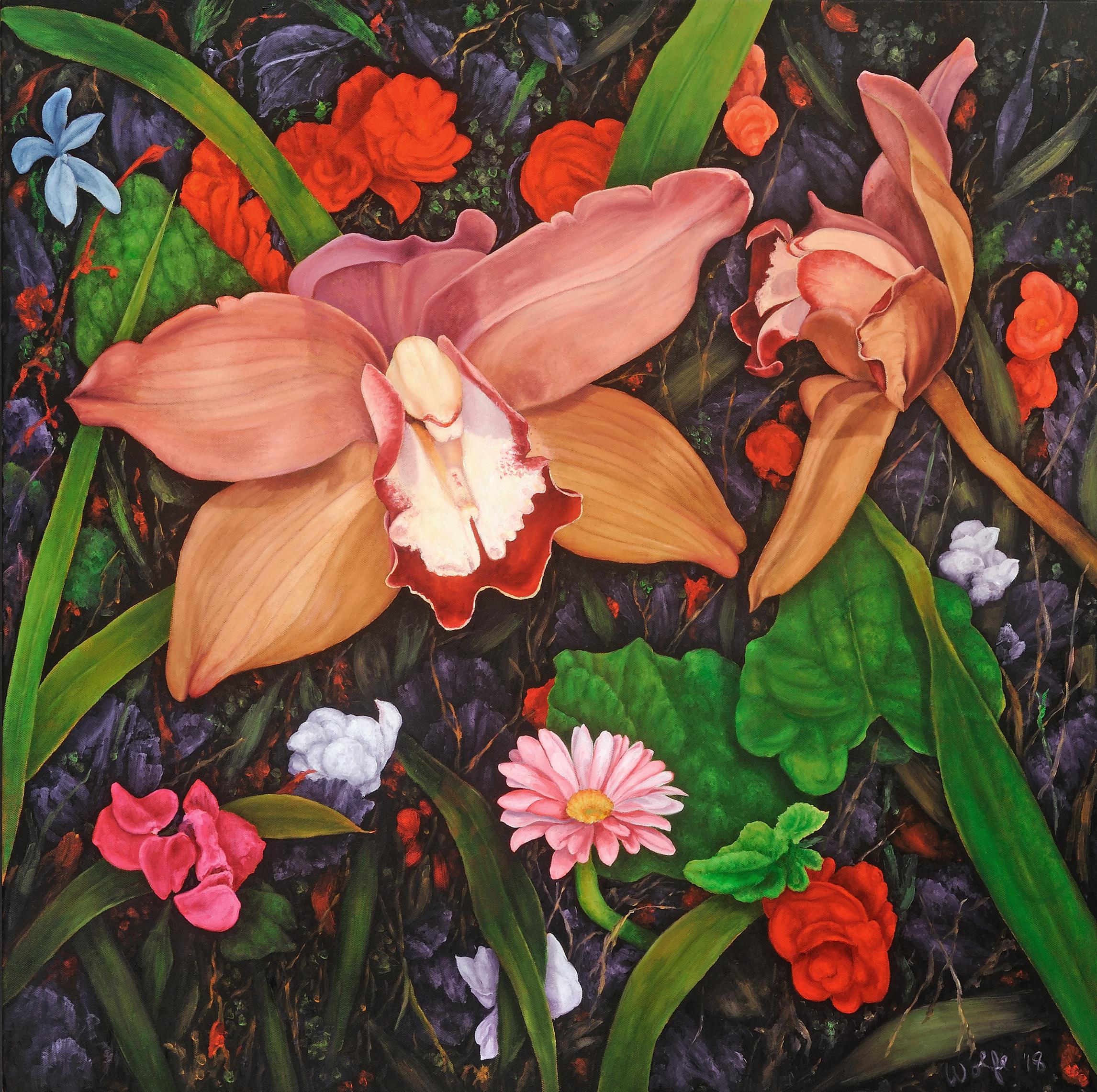 "Dreams In A Garden, 2018, David Wolfe. Oil on canvas. 30"" x 30""."