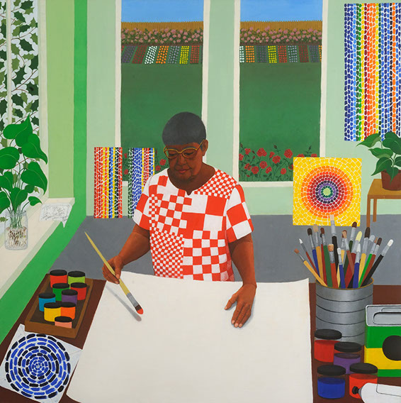 """Homage To Alma Thomas, oil on canvas, 36"""" x 36"""". In this painting, Miriam Keeler celebrates the life and powerful artwork of female artist of color Alma Thomas, who was an important part of the 1960s-70s art scene in Washington DC. Miriam portrays Alma here in an environment that reflects her very own artwork. The artist is pictured as being at the forefront of a studio filled with vividly colored, abstract expressionist patterns and shapes. Alma's powerful pose represents her strength as an artist, her influence on the art world, and her boundless creativity. Miriam Keeler has made several homages, celebrating the lives of famous women in the arts. You can find more  here ."""