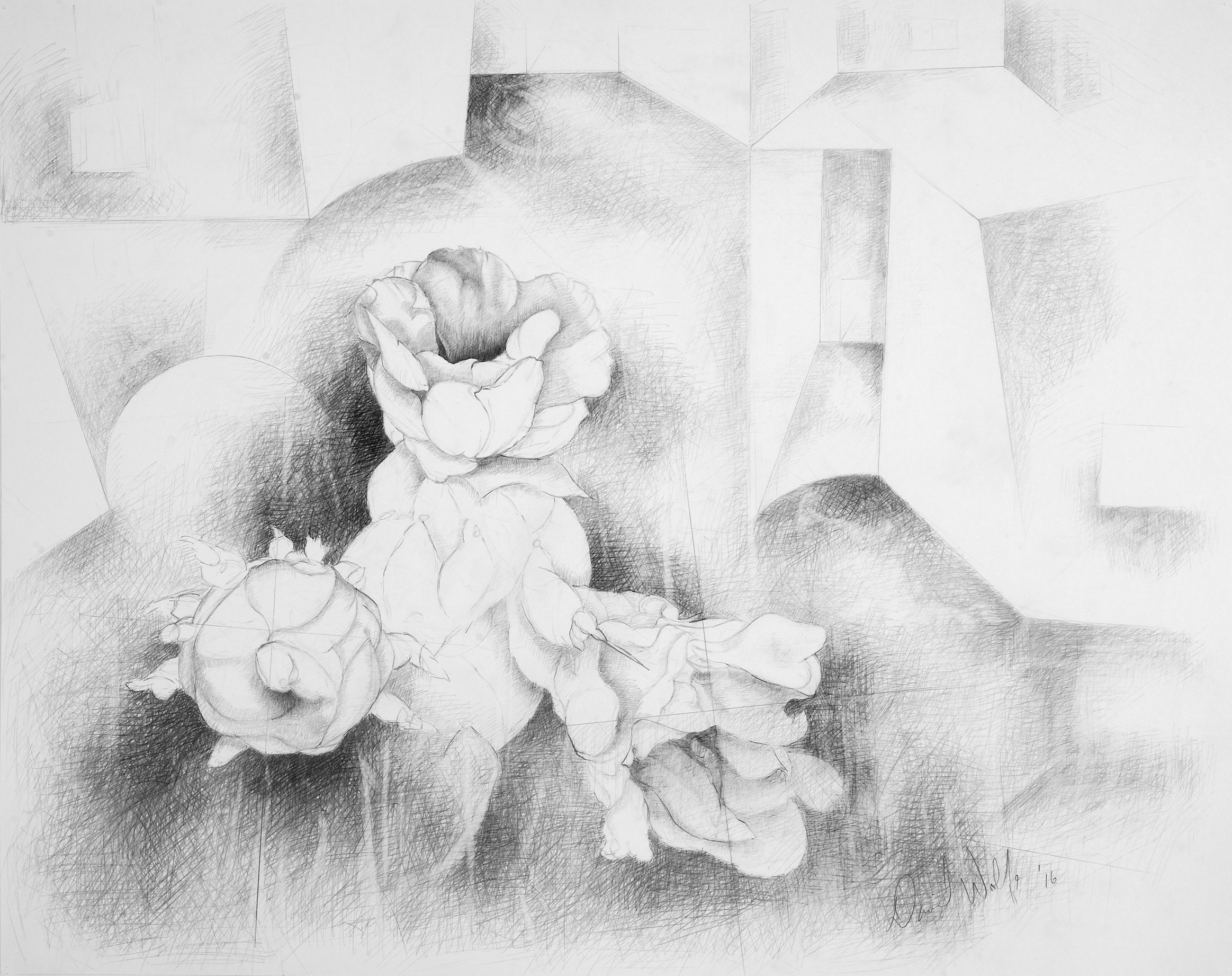 "Interiors 2, 2016    Graphite on paper  25"" x 28"" (framed)  $960  Click image to enlarge ⦿  Inquire"