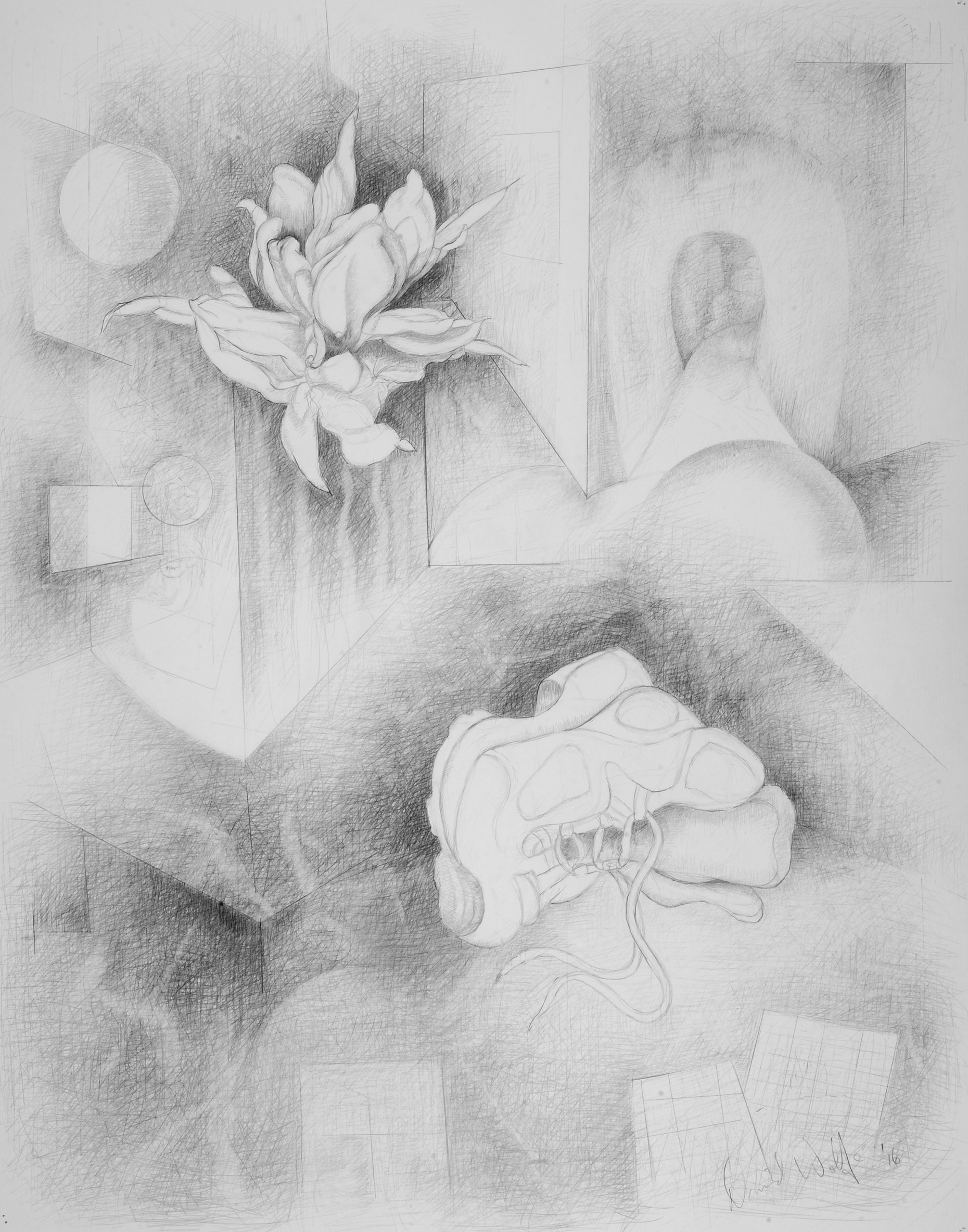 "Interiors 3, 2016    Graphite on paper  28"" x 25"" (framed)  $960  Click image to enlarge ⦿  Inquire"
