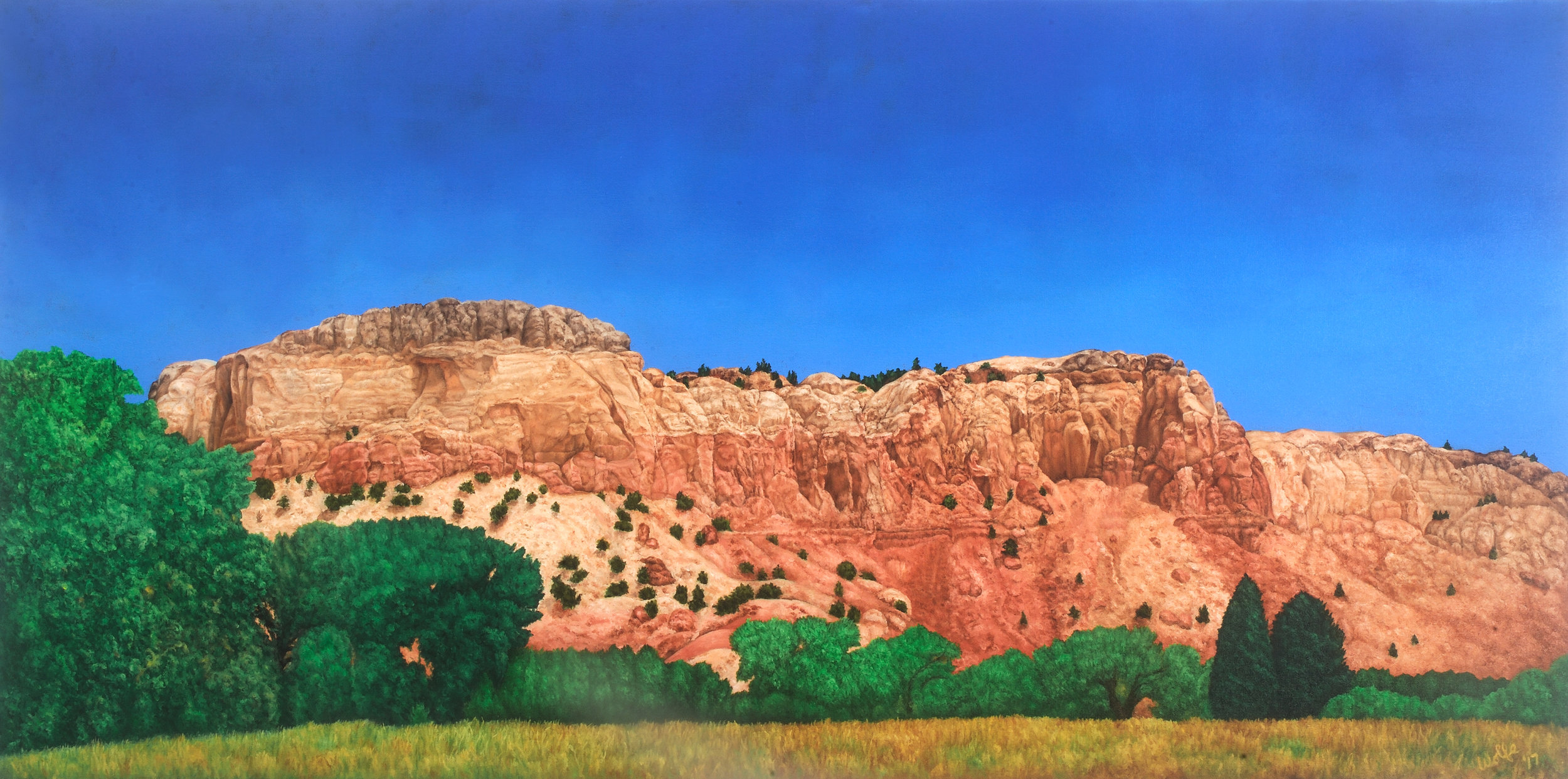 "Ghost Ranch, 2017    Oil on canvas  24"" x 48""  $3,600  Click image to enlarge ⦿  Inquire"