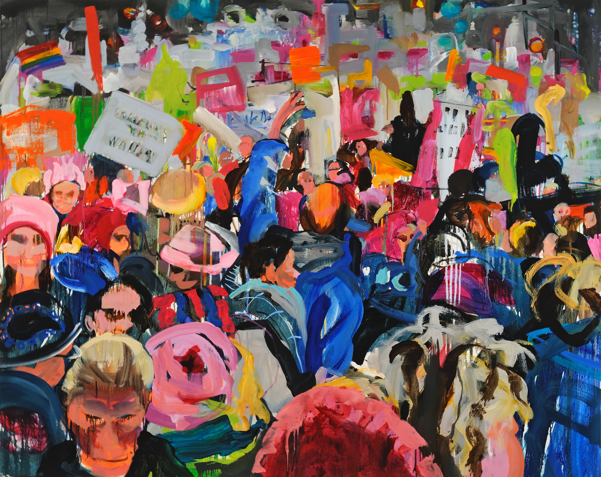 """Day 2, oil on canvas. This painting is also a part of """"Catalyzed,"""" documenting the Women's March and the intensity of emotions that have come with the wave of women ready to fight for their rights. Strength and unity are paired with a controlled sense of panic in these paintings. The brush strokes allude to the sheer magnitude of movement in the crowds, but also give each person pictured a unique personality and tangle of emotions."""