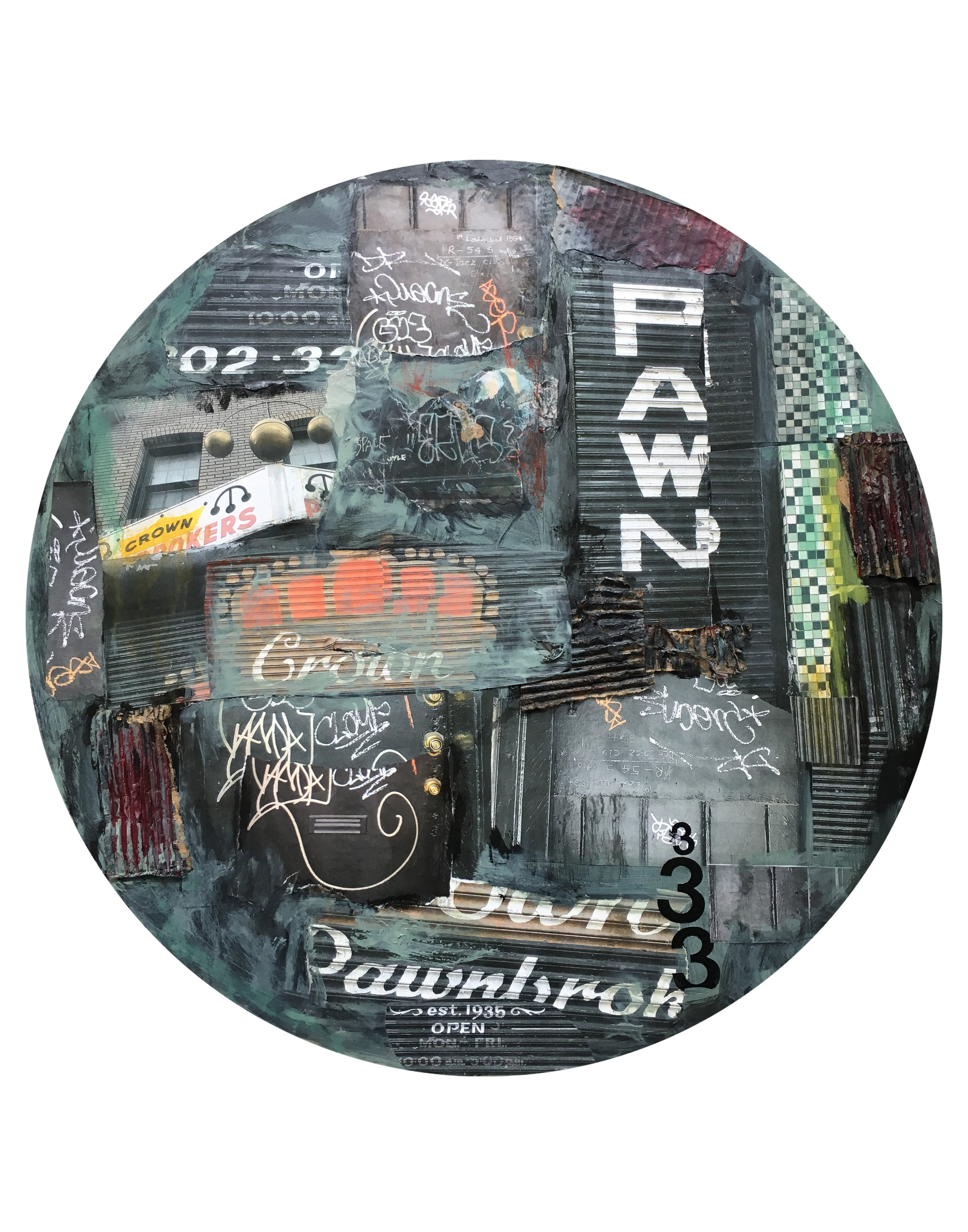 """Pawn Shop, 14th Street, NW, Photographs, collage, mixed media. 30"""" diameter."""