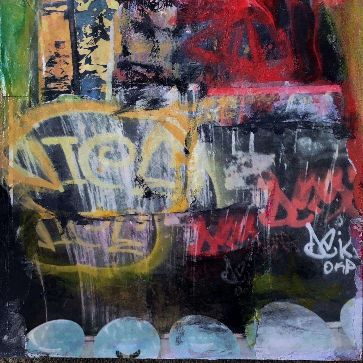 "Pam Frederick, Paris Metro (Odeon), photographs, mixed media on cradled panel, 16"" x 16"""