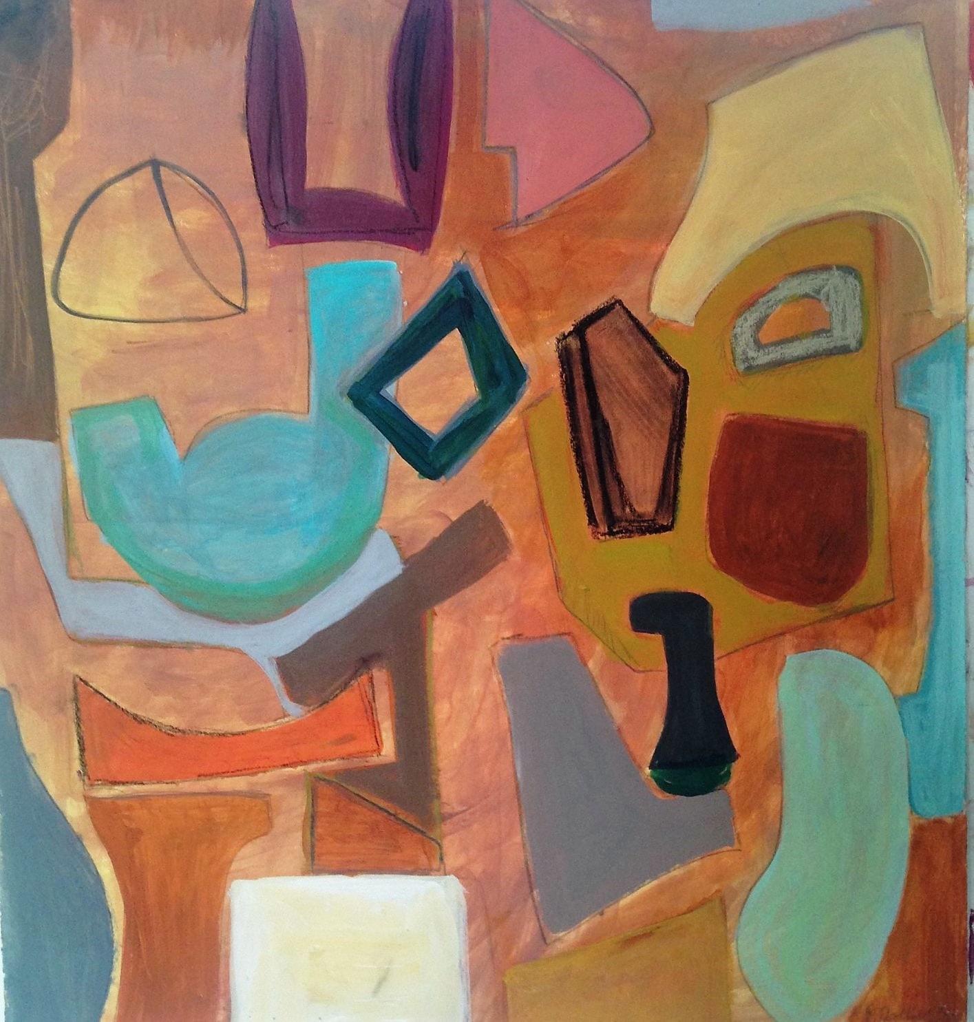 "Pam Frederick, Bluesville, acrylic on paper, 23"" x 21"""