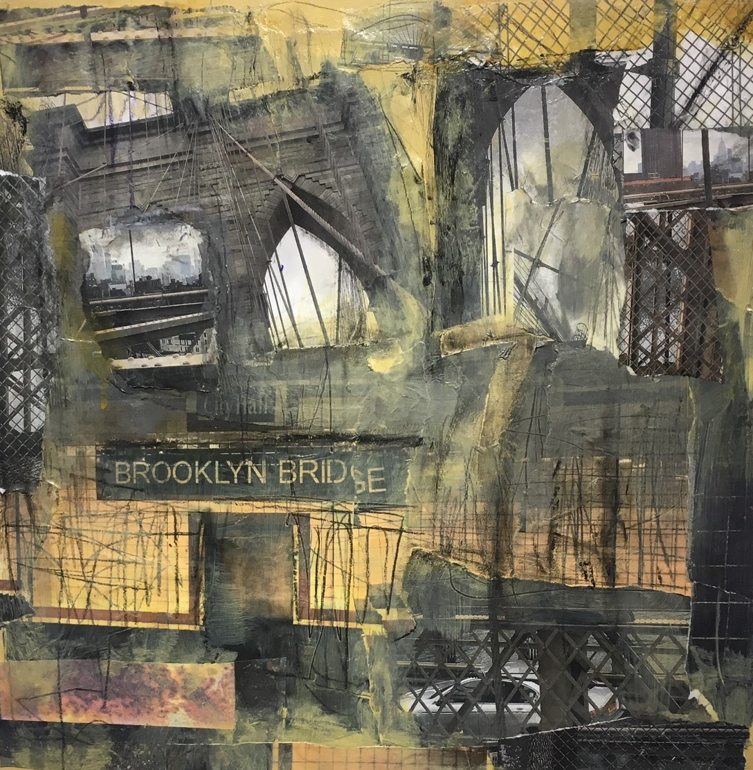 """Brooklyn Bridge/City Hall  Collaged photographs and mixed media on panel board  16"""" x 16"""" x 2.5""""  $700  Click image to enlarge   Inquire ."""