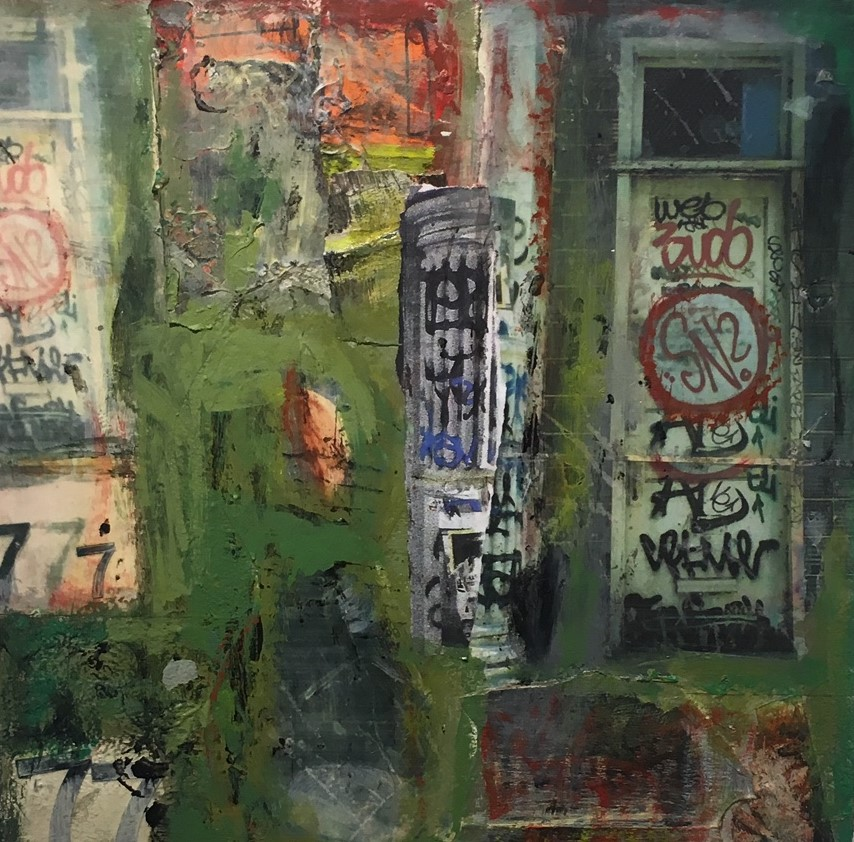 """Soho 1984  Collaged photographs and mixed media on wood panel   16"""" x 16"""" x 2.5   $700.00  Click image to enlarge   Inquire ."""