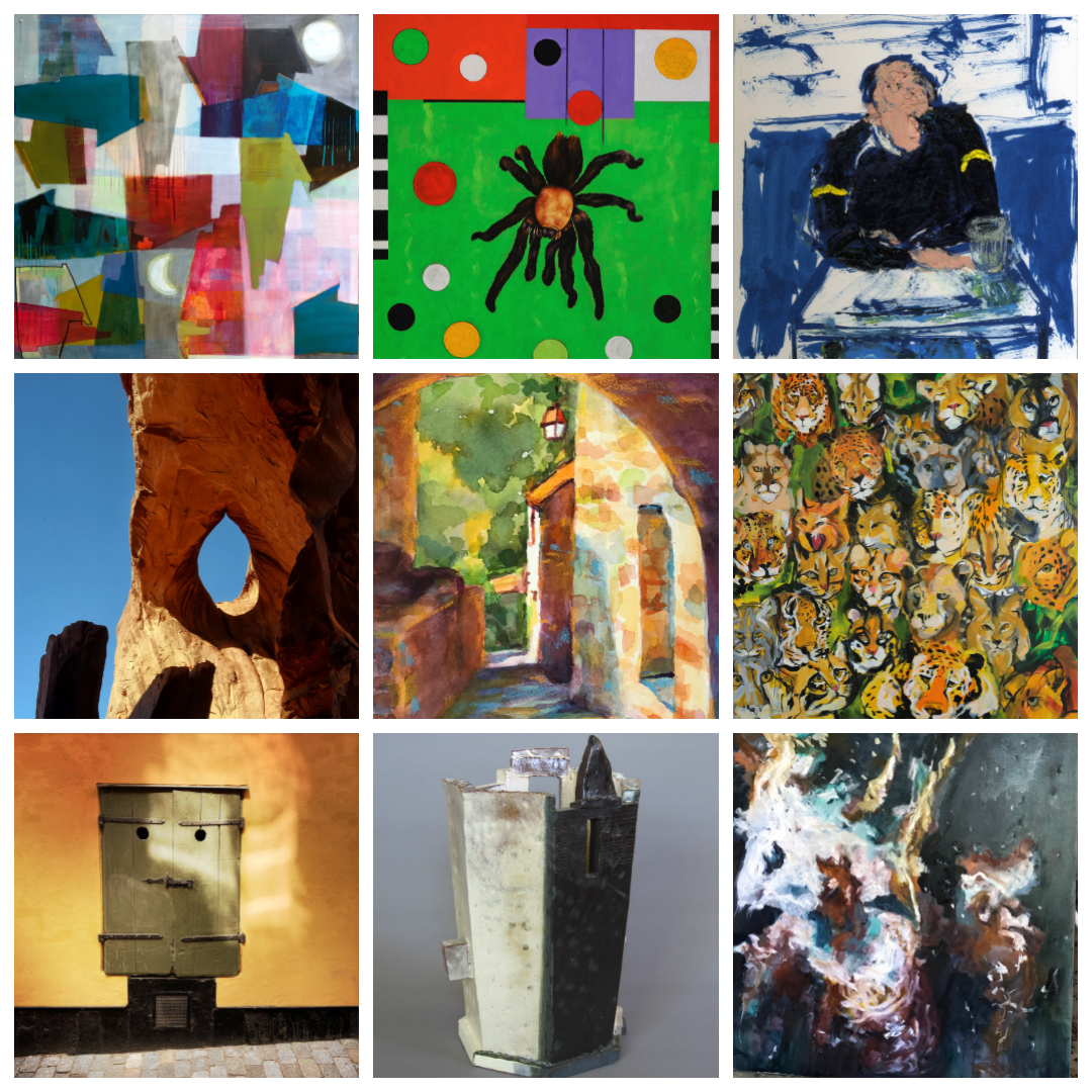 Works by Jennifer Duncan, David Wolfe, Gordon Binder, Gary Anthes, Freda Lee-McCann, Sally Kauffman, Susan Raines, William Bowser, and Suzanne Goldberg. Featured in  Me and My Shadow .