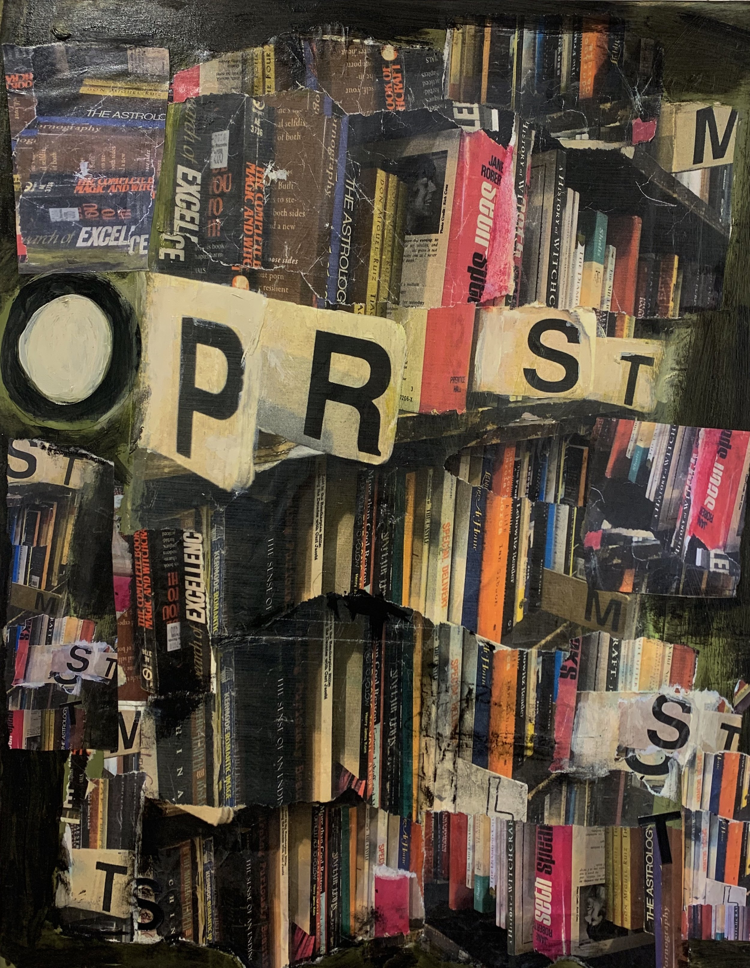 Pam Frederick, Westsider Books, Broadway, Upper West Side. Collaged photographs and mixed media on wood panel