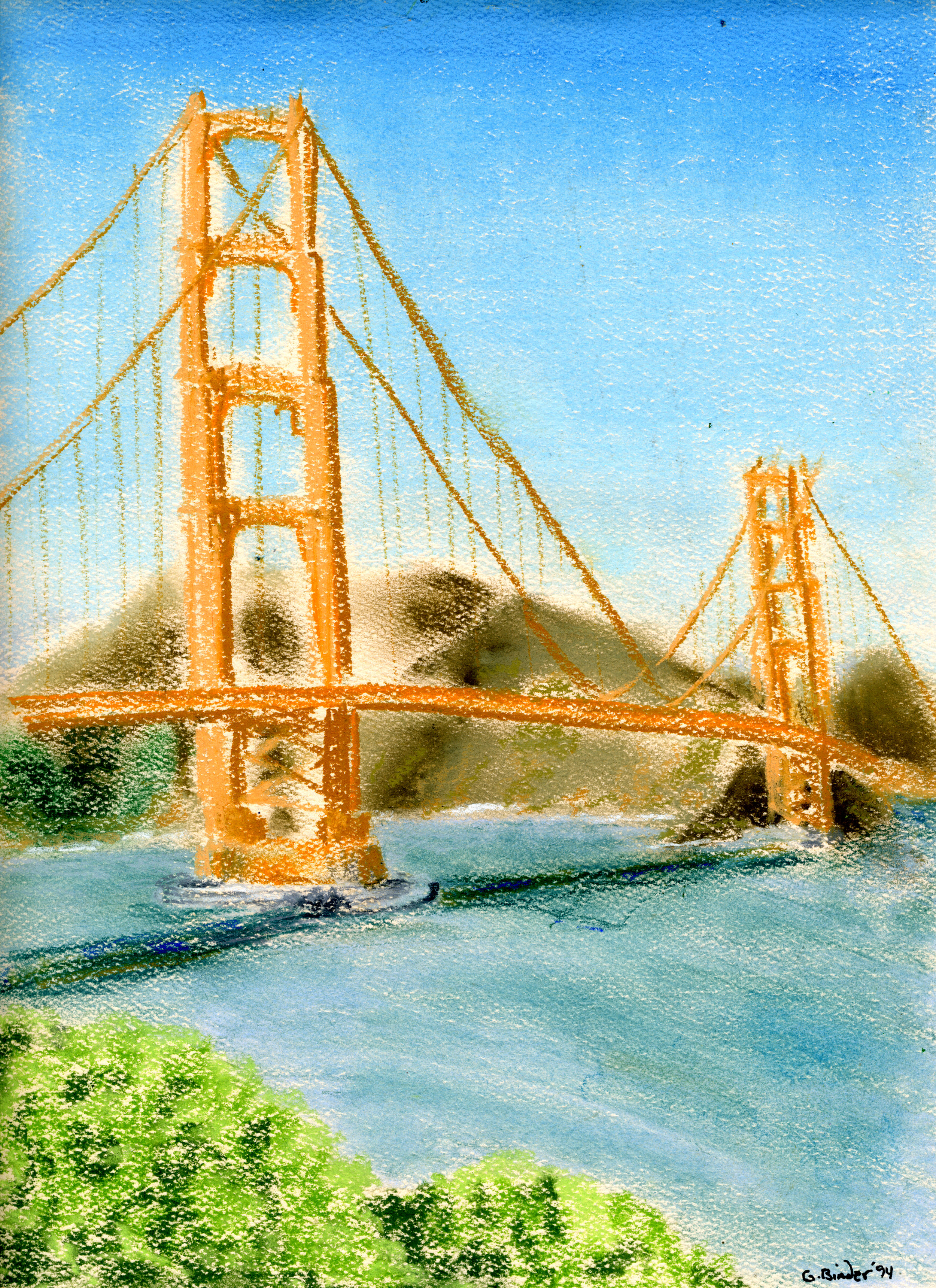 "Golden Gate Bridge,  Gordon Binder, pastel on beige paper, 12""x9"""