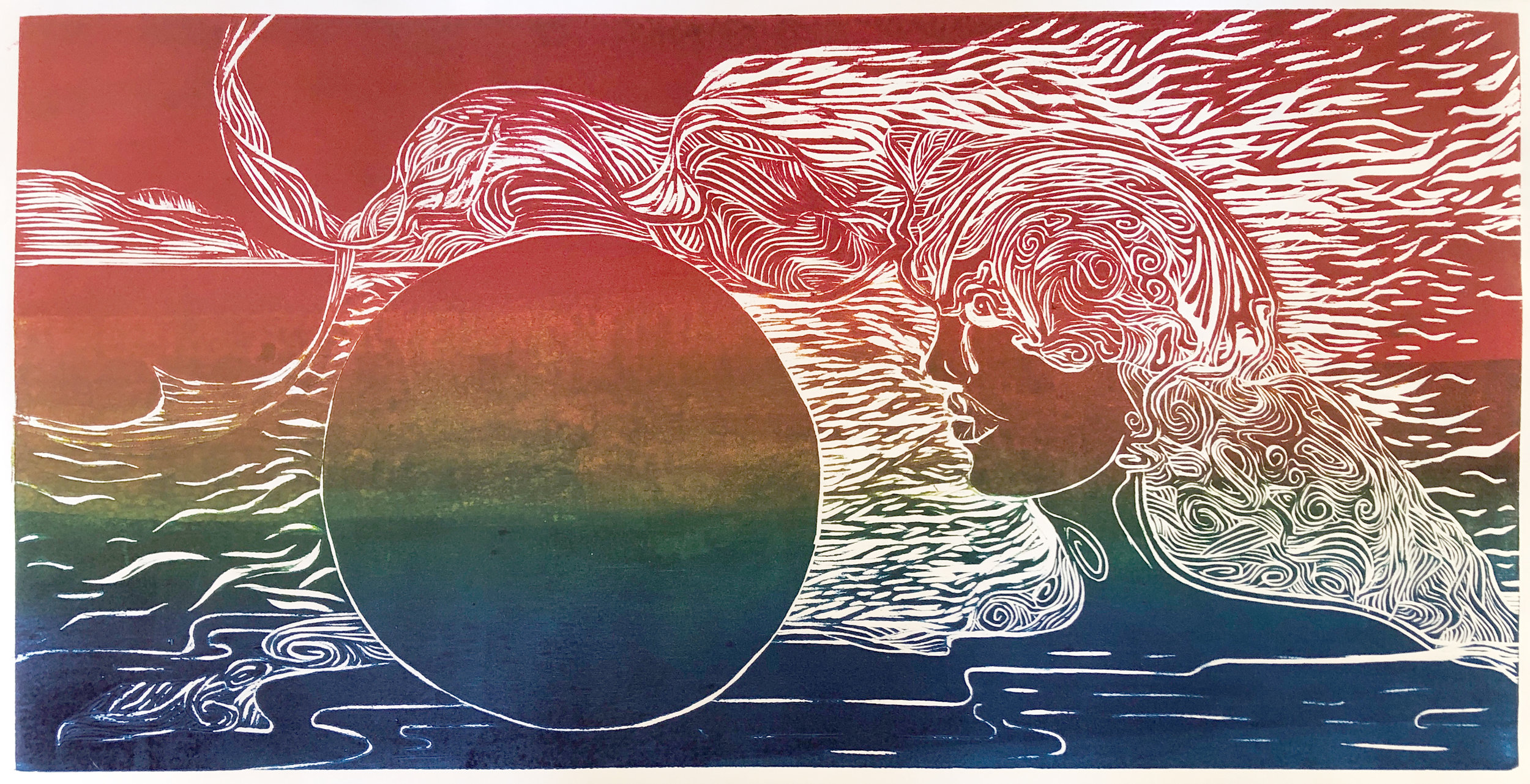 "Melpomene , Carolee Jakes, woodcut print, 1 of 4, varied edition, 12""x24"""