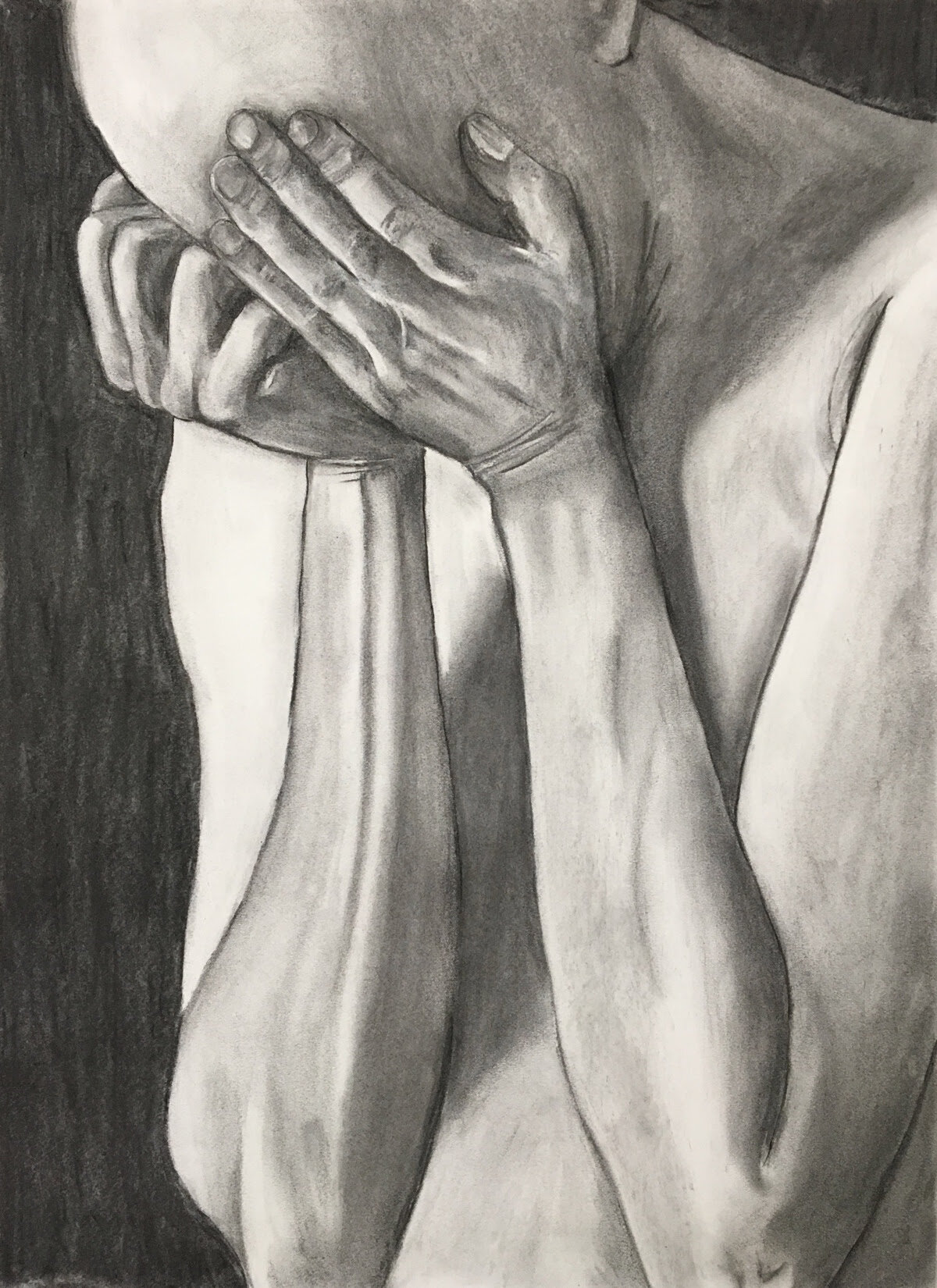 """Drawing After """"All in a Day - Remorse""""    Charcoal on paper  18"""" x 24"""" (framed)  $400  Click image to enlarge ⦿  Inquire"""