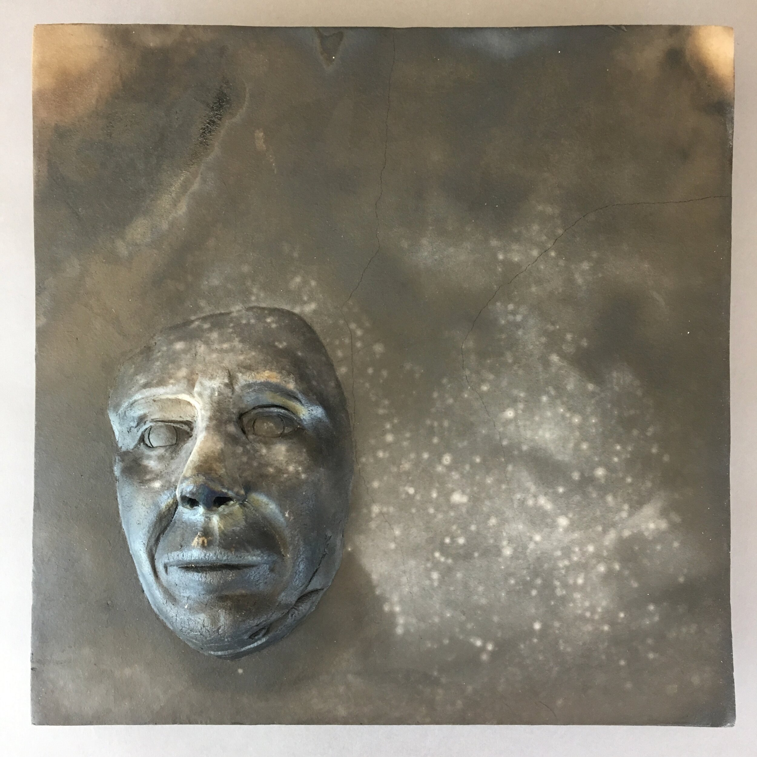 """Becoming  (panel 4 of 15)   Pit-fired ceramic on birch mounts  11.5"""" x 11.5"""" x variable thickness  Relief panels: $400 each  Flat panels: $75 each  Complete set: $4500  Click image to enlarge ⦿  Inquire"""