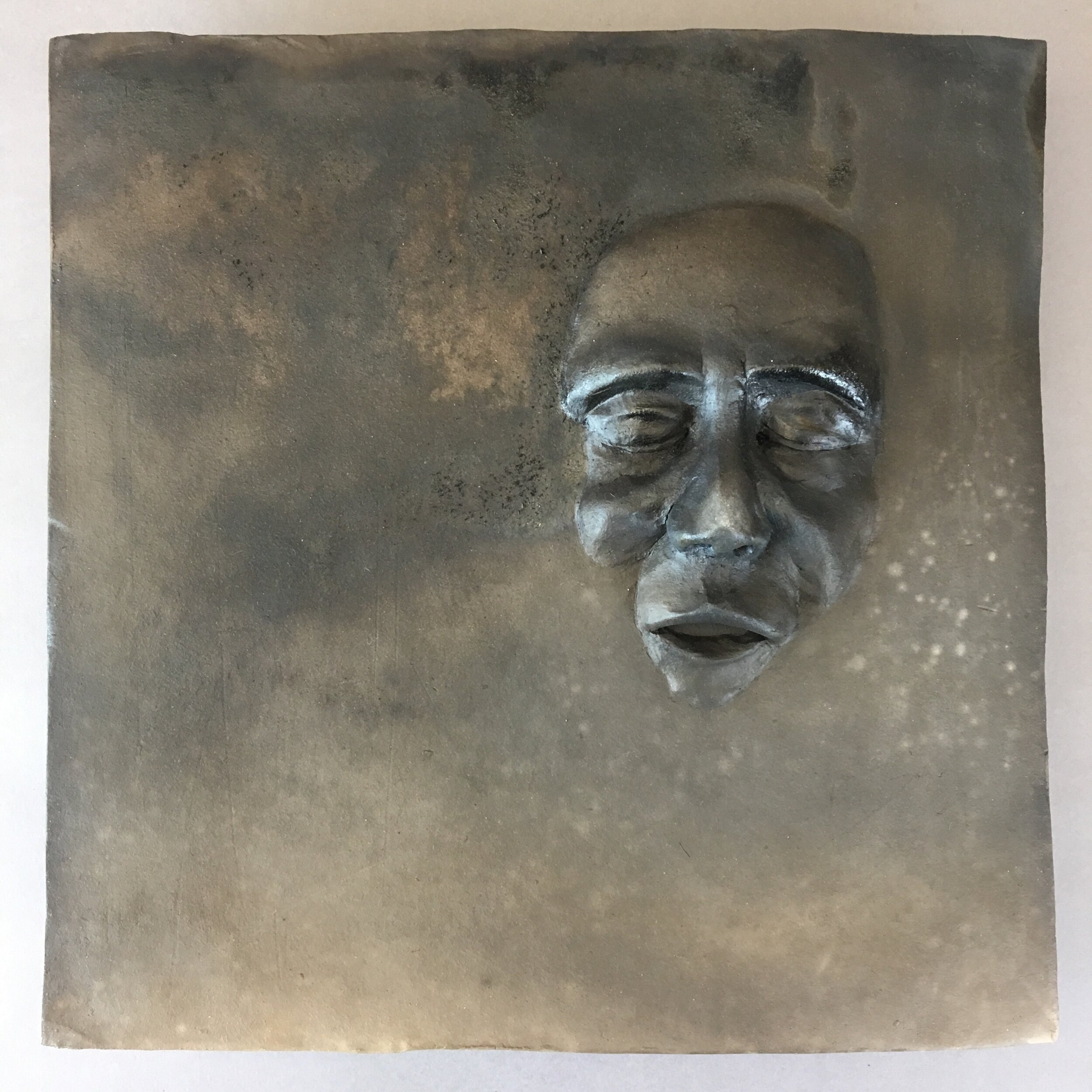 """Becoming  (panel 7 of 15)   Pit-fired ceramic on birch mounts  11.5"""" x 11.5"""" x variable thickness  Relief panels: $400 each  Flat panels: $75 each  Complete set: $4500  Click image to enlarge ⦿  Inquire"""