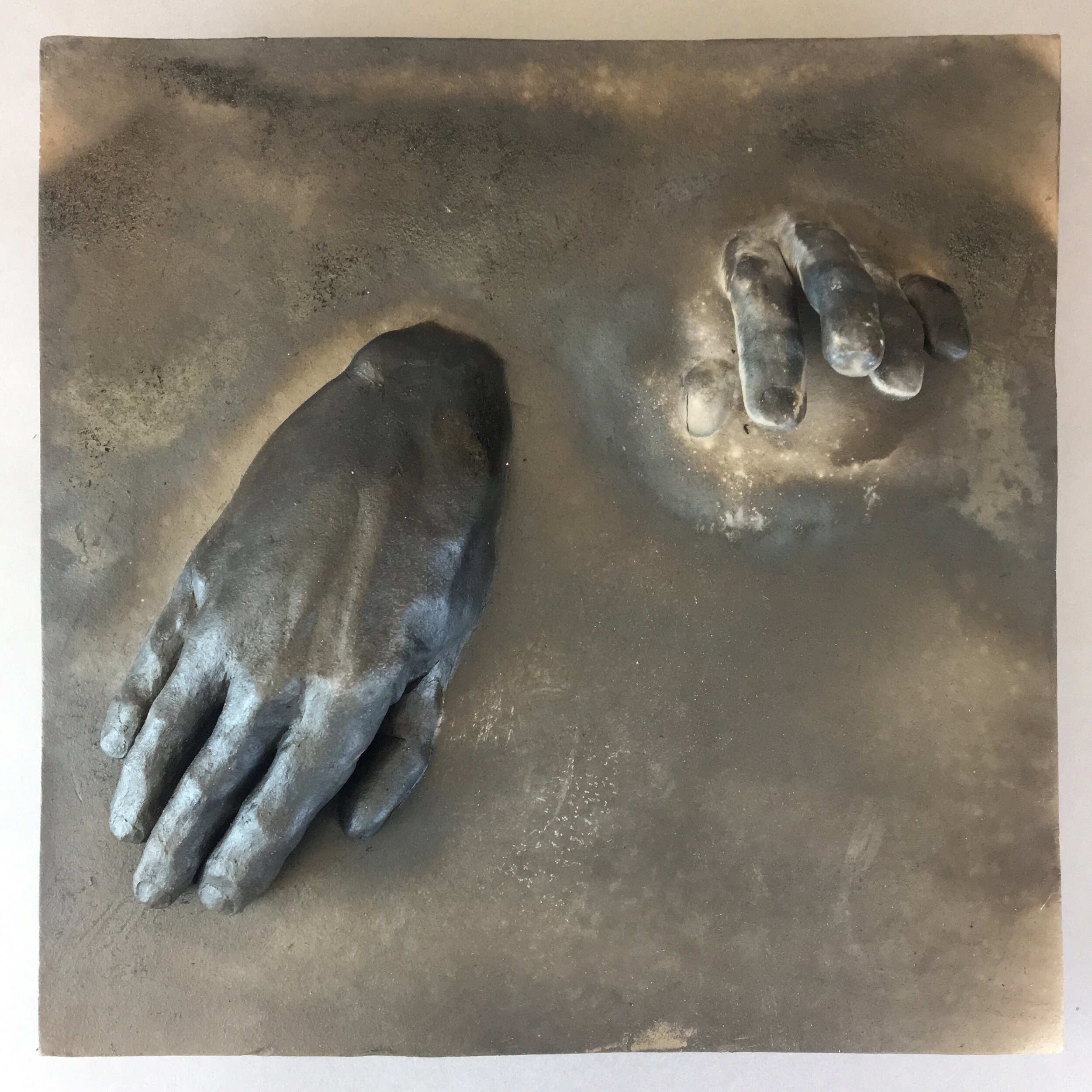 """Becoming  (panel 8 of 15)   Pit-fired ceramic on birch mounts  11.5"""" x 11.5"""" x variable thickness  Relief panels: $400 each  Flat panels: $75 each  Complete set: $4500  Click image to enlarge ⦿  Inquire"""