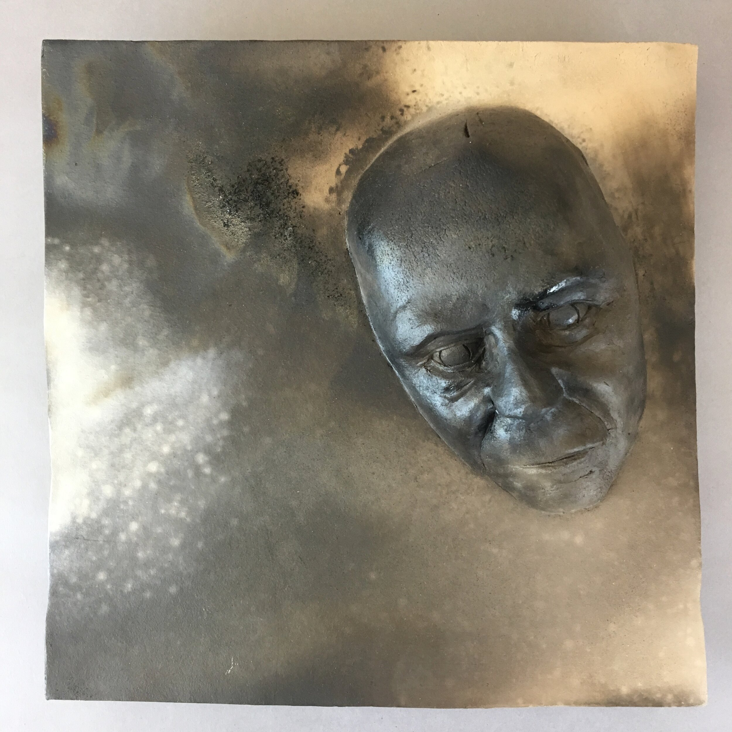 """Becoming  (panel 11 of 15)   Pit-fired ceramic on birch mounts  11.5"""" x 11.5"""" x variable thickness  Relief panels: $400 each  Flat panels: $75 each  Complete set: $4500  Click image to enlarge ⦿  Inquire"""