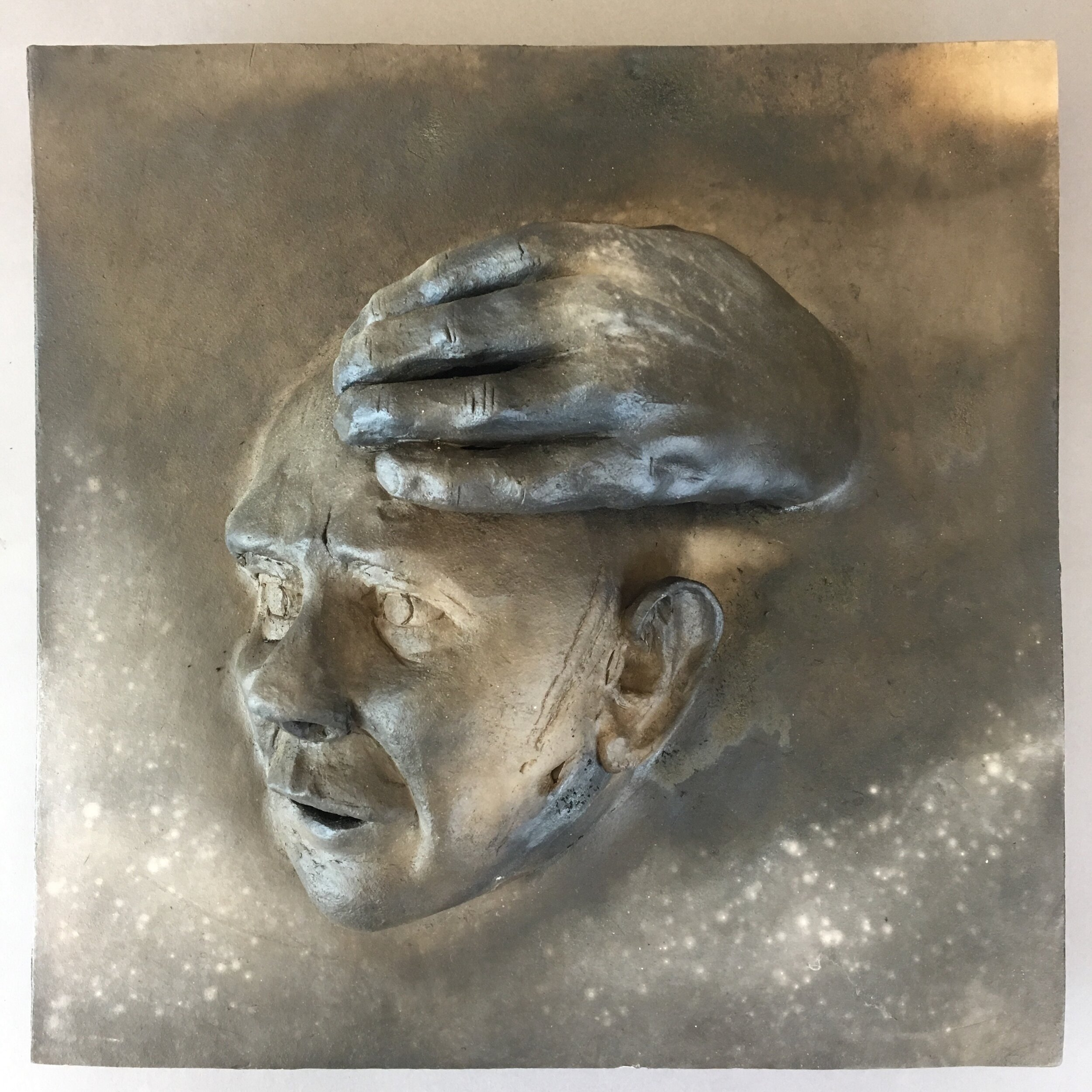 """Becoming  (panel 14 of 15)   Pit-fired ceramic on birch mounts  11.5"""" x 11.5"""" x variable thickness  Relief panels: $400 each  Flat panels: $75 each  Complete set: $4500  Click image to enlarge ⦿  Inquire"""