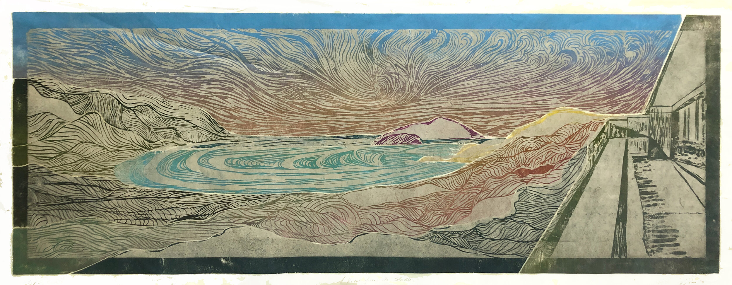 """A View from the Studio (1 of 4)    2 block woodcut print  18'"""" x 48""""  varied edition $1000  Click image to enlarge ⦿  Inquire"""
