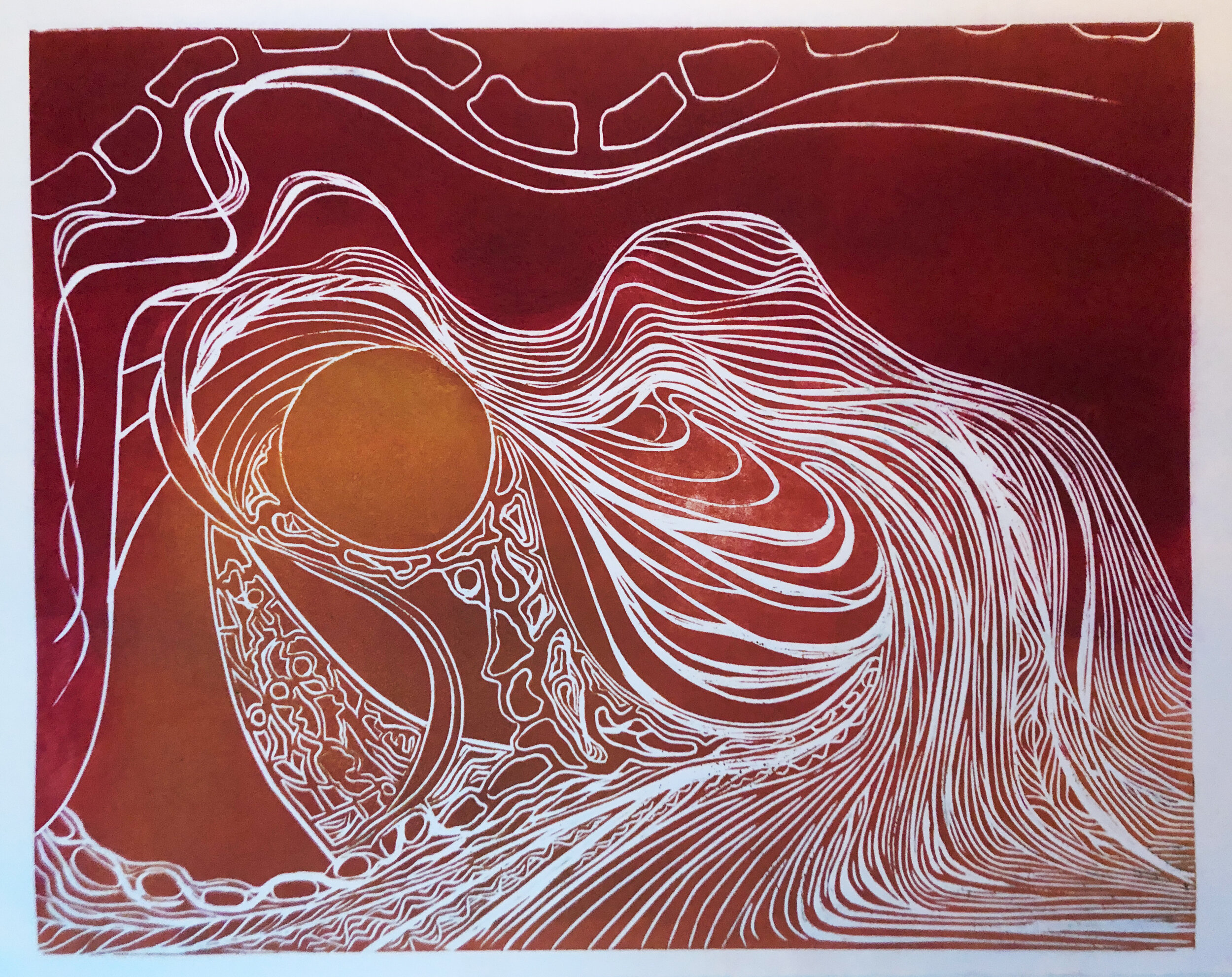 """Icon (1 of 4)    Woodcut print  16"""" x 20""""  $500  Click image to enlarge ⦿  Inquire"""