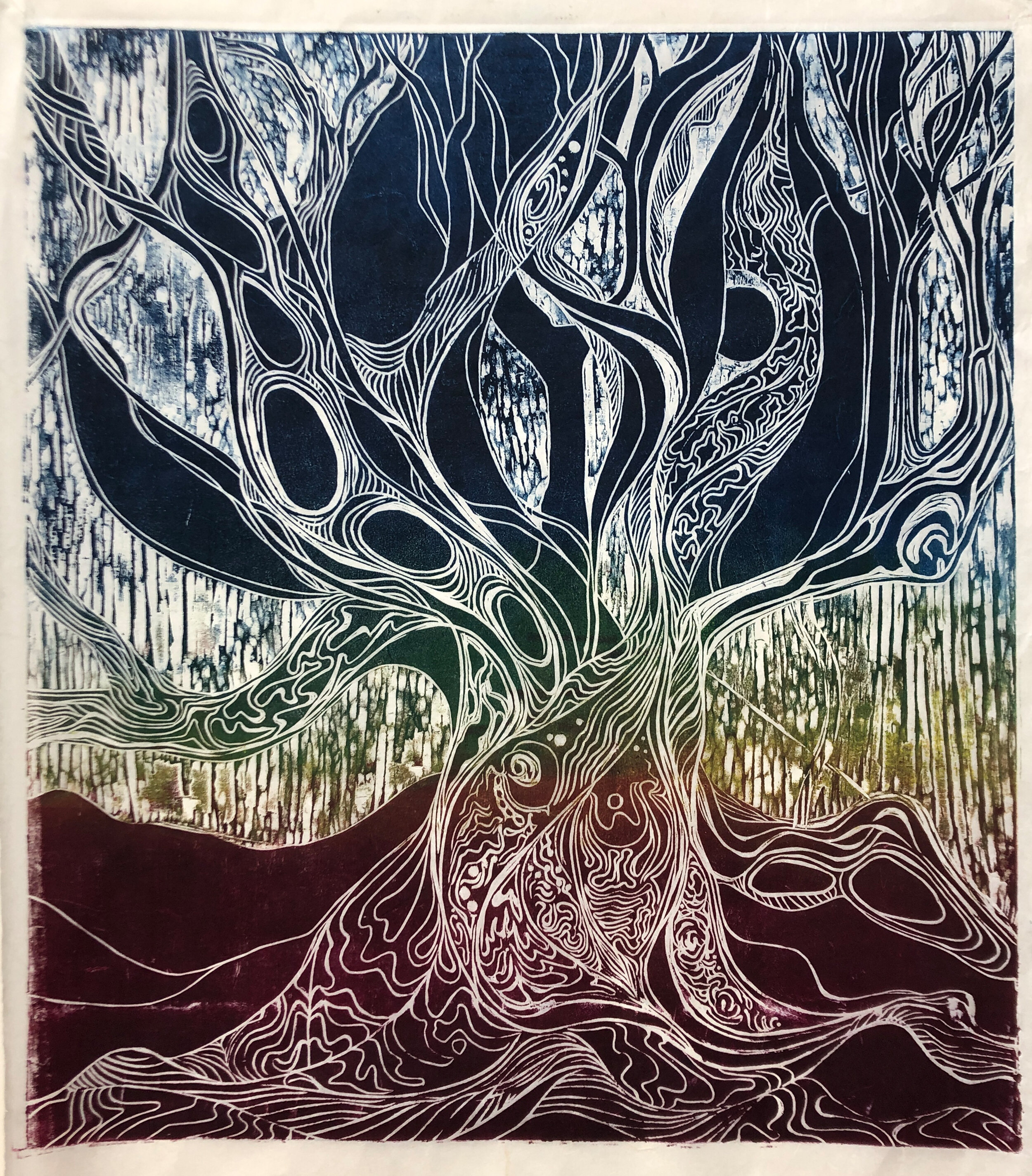 """Hello Old Friend (1 of 4)    Woodcut Print  22"""" x 24""""  varied edition $800  Click image to enlarge ⦿  Inquire"""