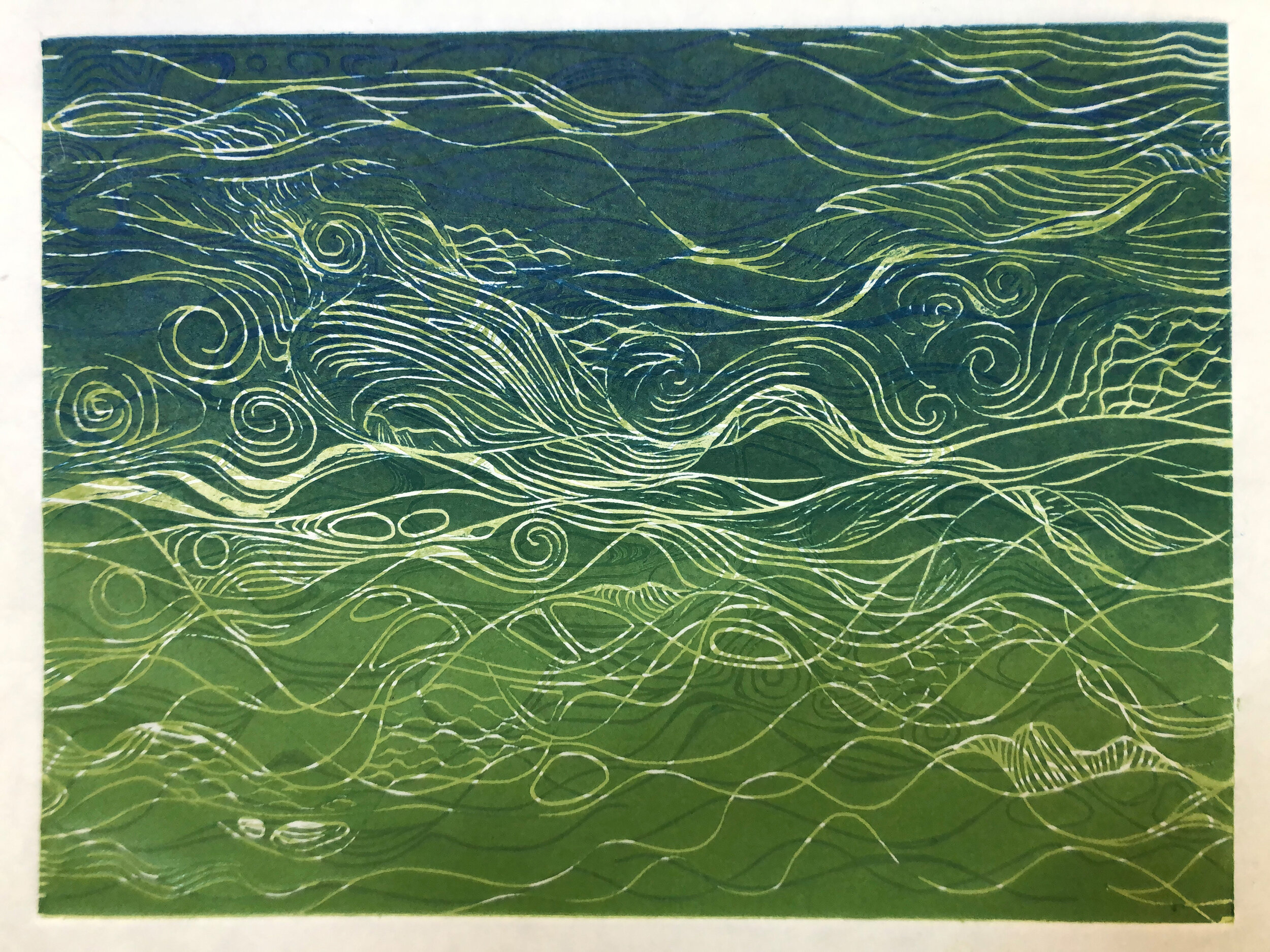 """Water: Variations on a theme (1 of 9)    Woodcut Prints 1, 2, and 3 block combinations  12 x 16""""  $300 ea  $500/2  $700/3  Click image to enlarge ⦿  Inquire"""
