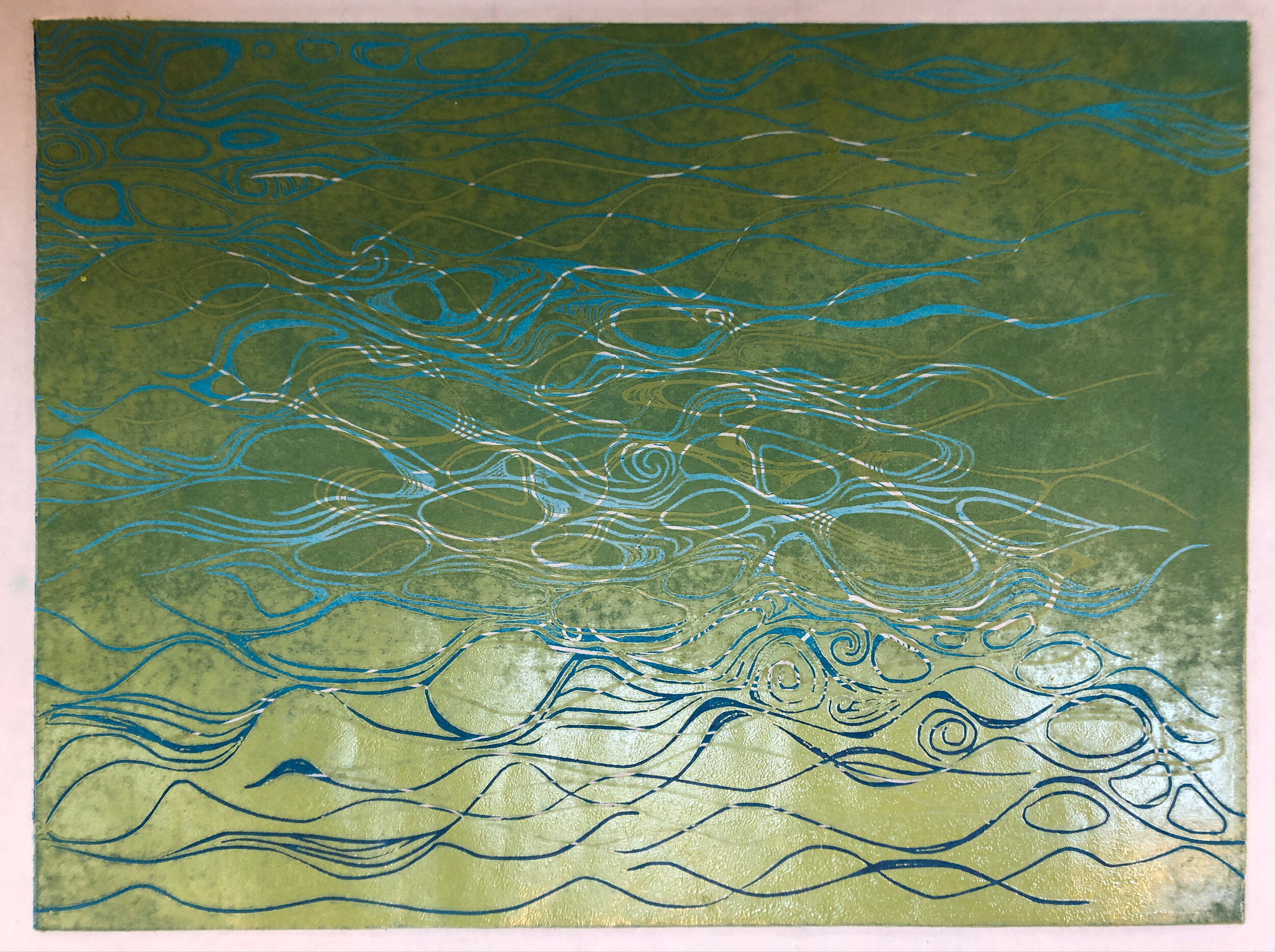 """Water: Variations on a theme (2 of 9)    Woodcut Prints 1, 2, and 3 block combinations  12 x 16""""  $300 ea  $500/2  $700/3  Click image to enlarge ⦿  Inquire"""
