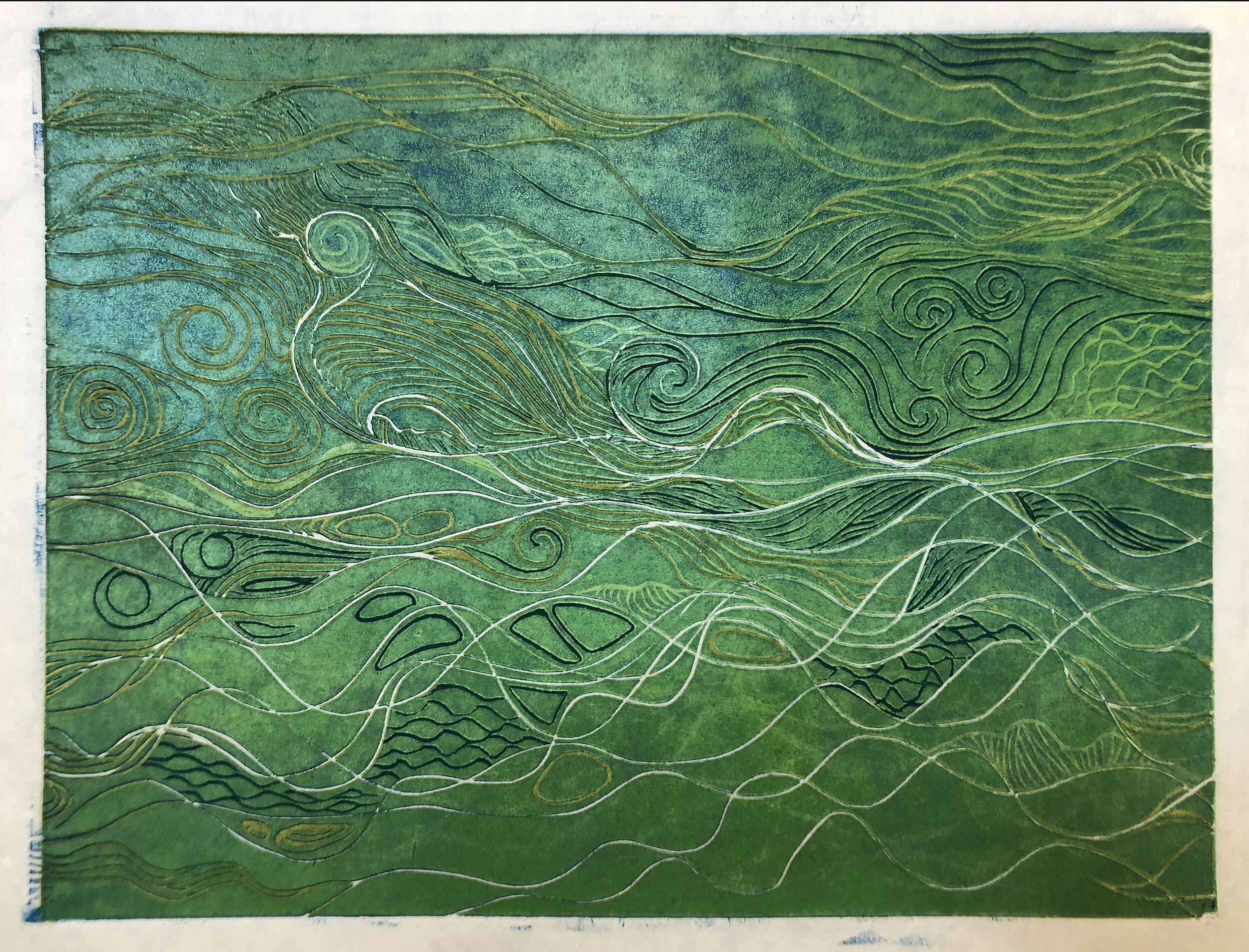 """Water: Variations on a theme (3 of 9)    Woodcut Prints 1, 2, and 3 block combinations  12 x 16""""  $300 ea  $500/2  $700/3  Click image to enlarge ⦿  Inquire"""