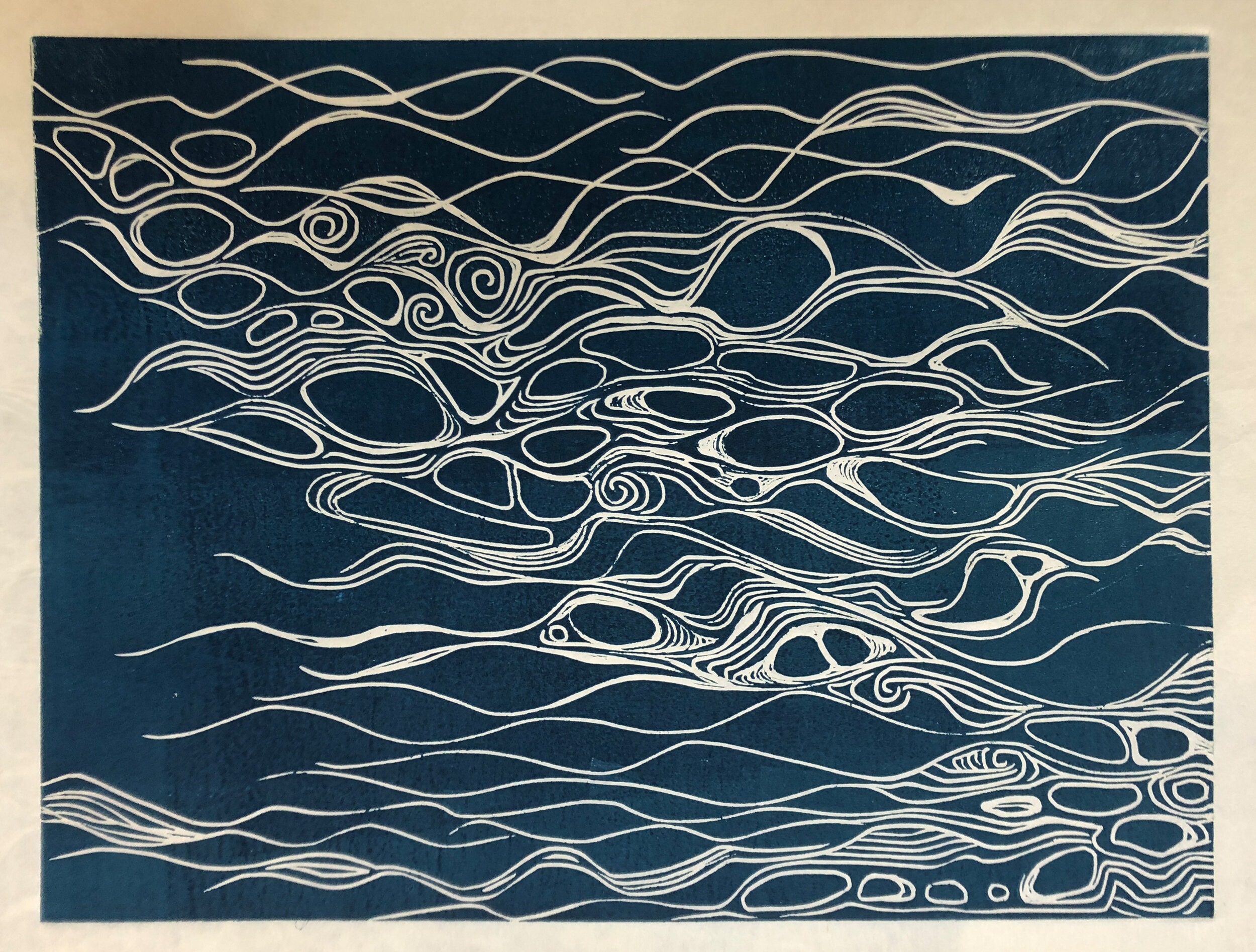 """Water: Variations on a theme (4 of 9)    Woodcut Prints 1, 2, and 3 block combinations  12 x 16""""  $300 ea  $500/2  $700/3  Click image to enlarge ⦿  Inquire"""